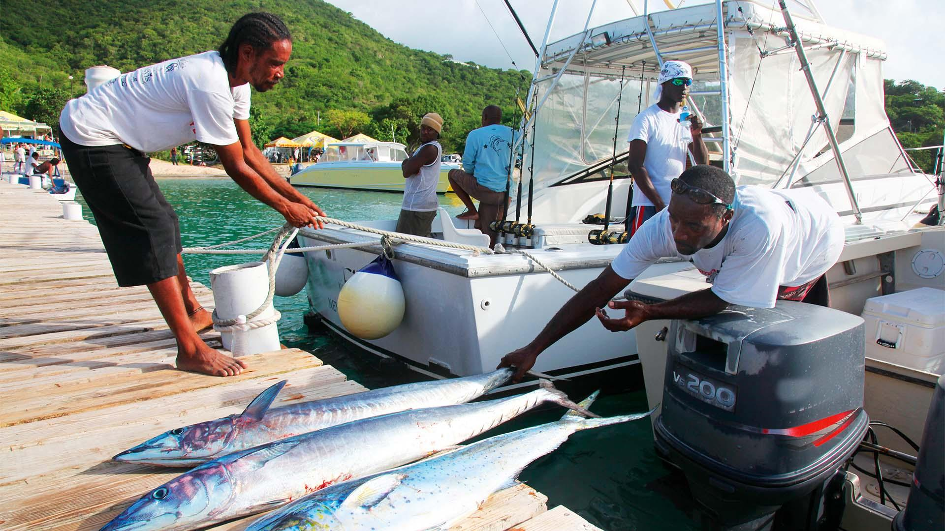 Fishermen at work in boat on Nevis