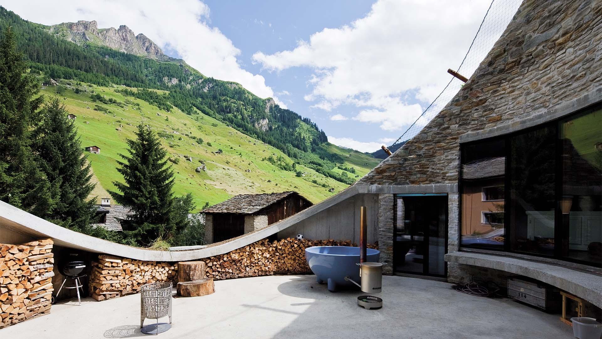Exterior of Villa Vals in Switzerland