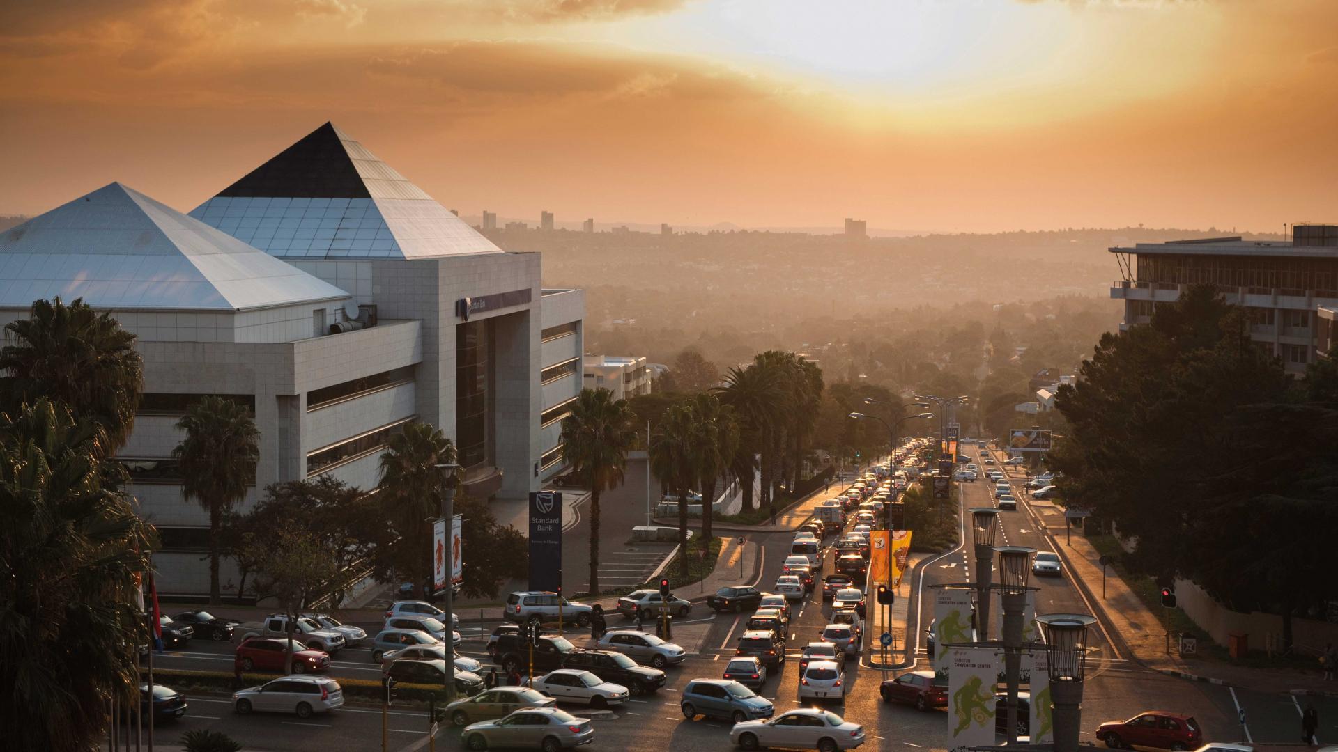 Traffic heading across Johannesburg, South Africa