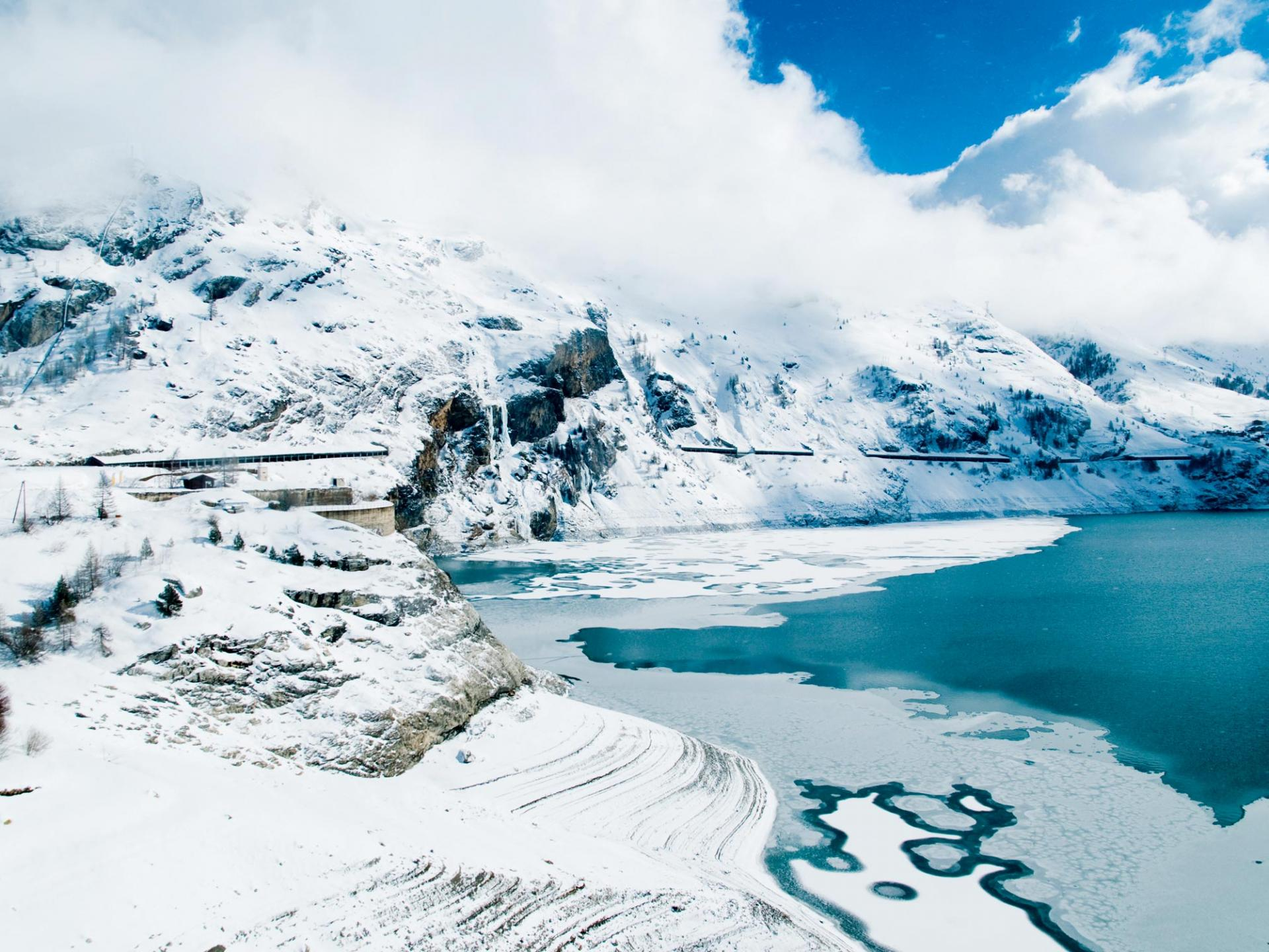 A frozen lake in the French Alps
