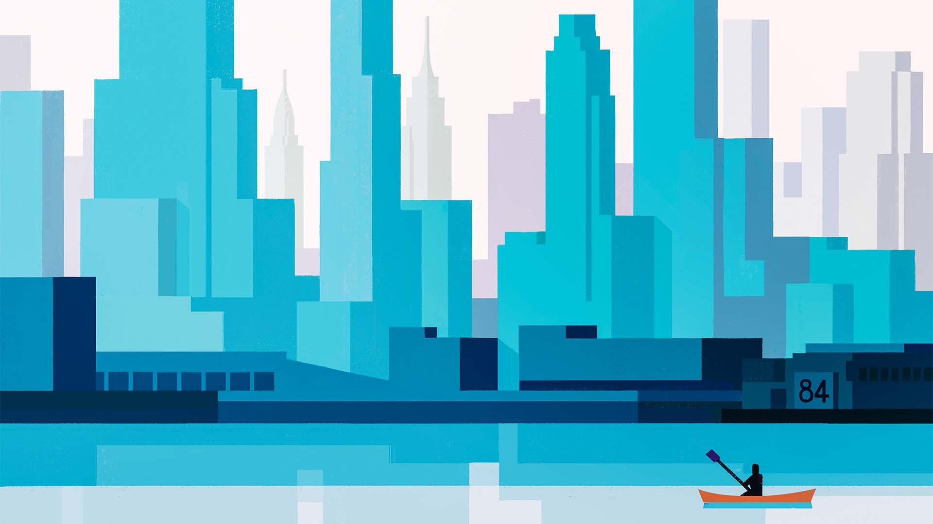 Illustrated impression of kayaking on the Hudson