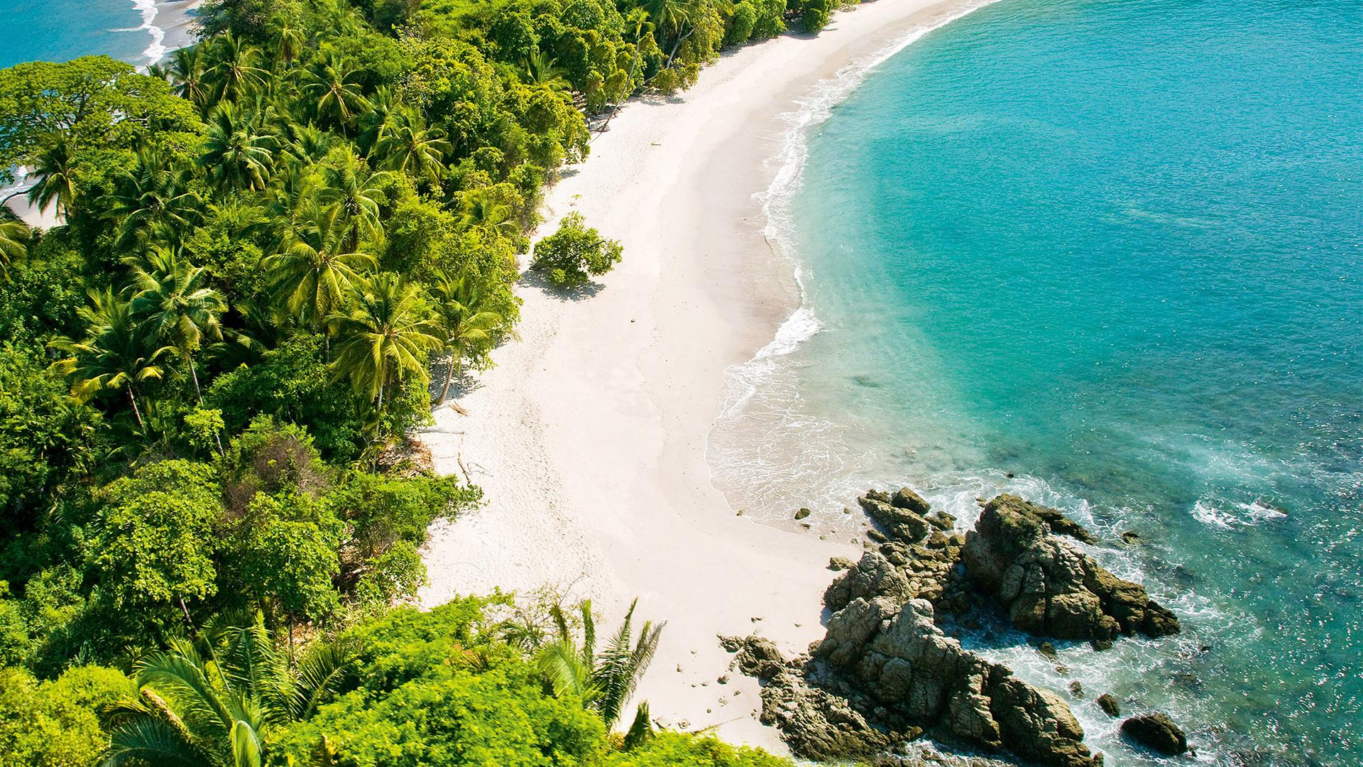 Aerial photo of the beach at Manuel Antonio