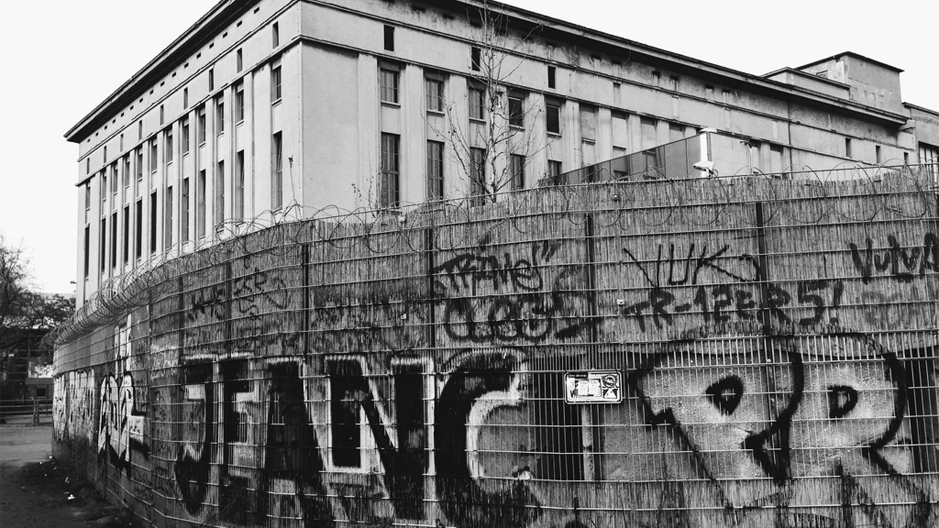 Exterior of berghain in black and white