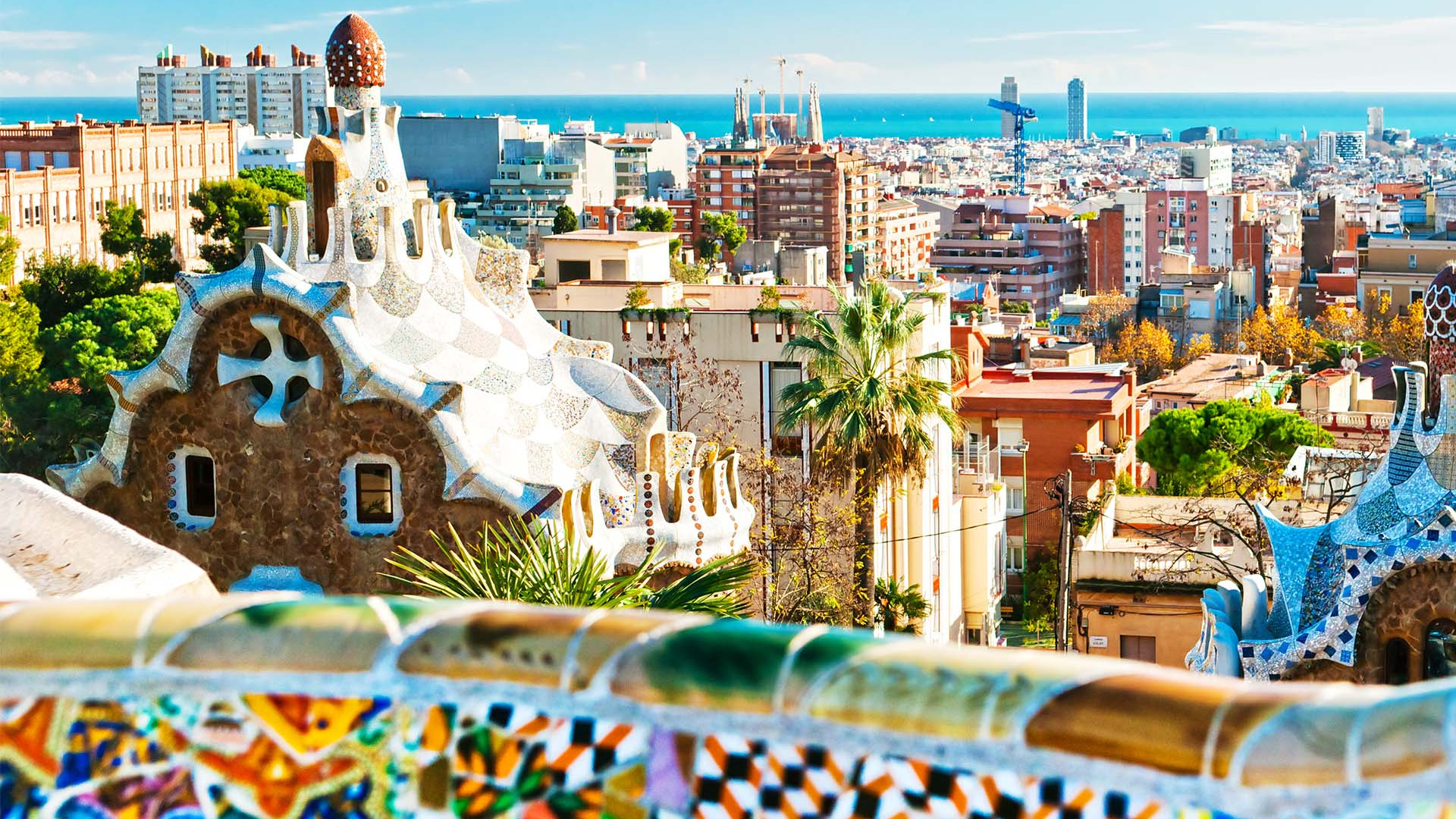 View of Barcelona from top of Parc Guell