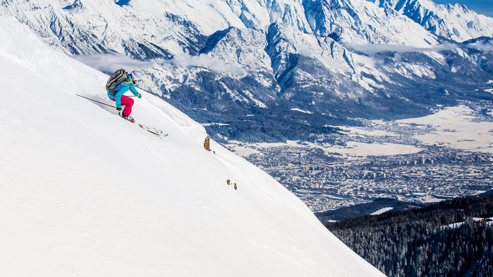 Cross country skiier on the slopes in Innsbruck, Austria