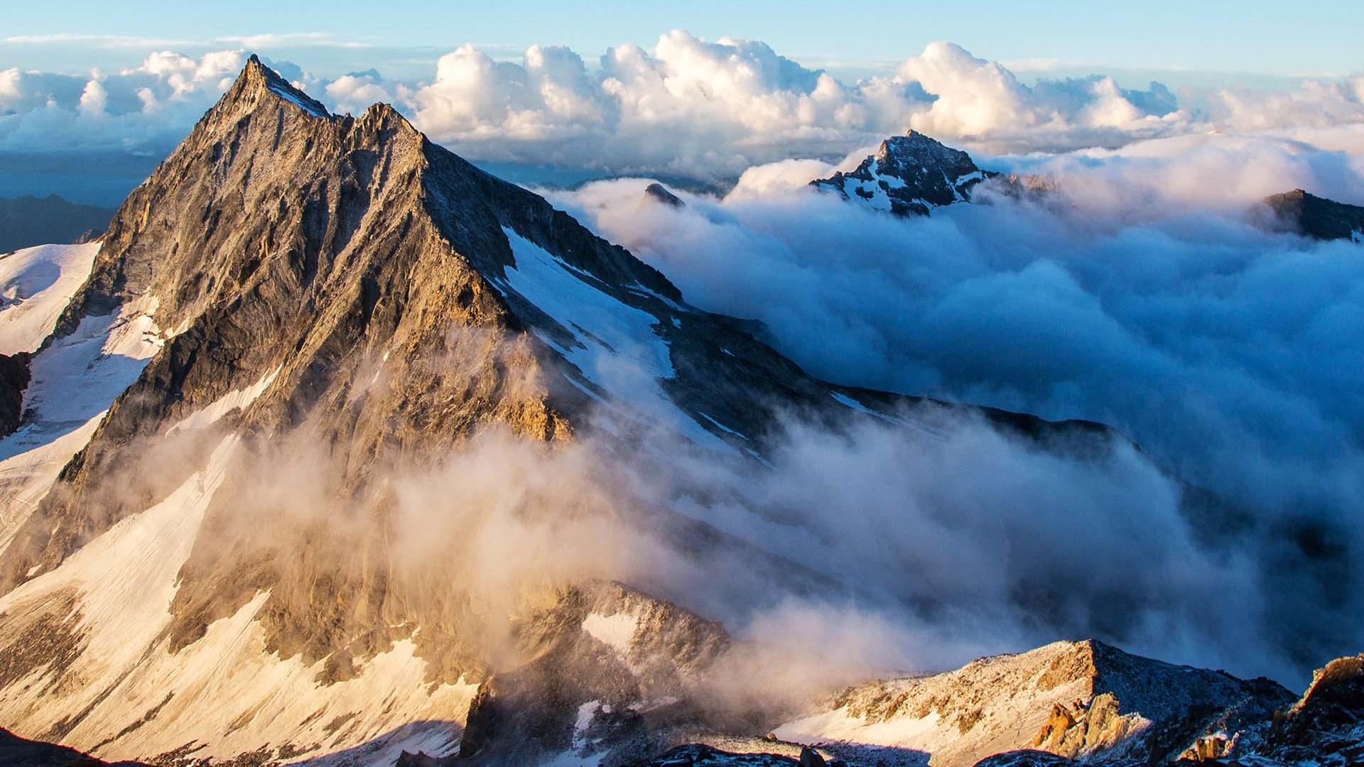 The peak of Weissemies through clouds