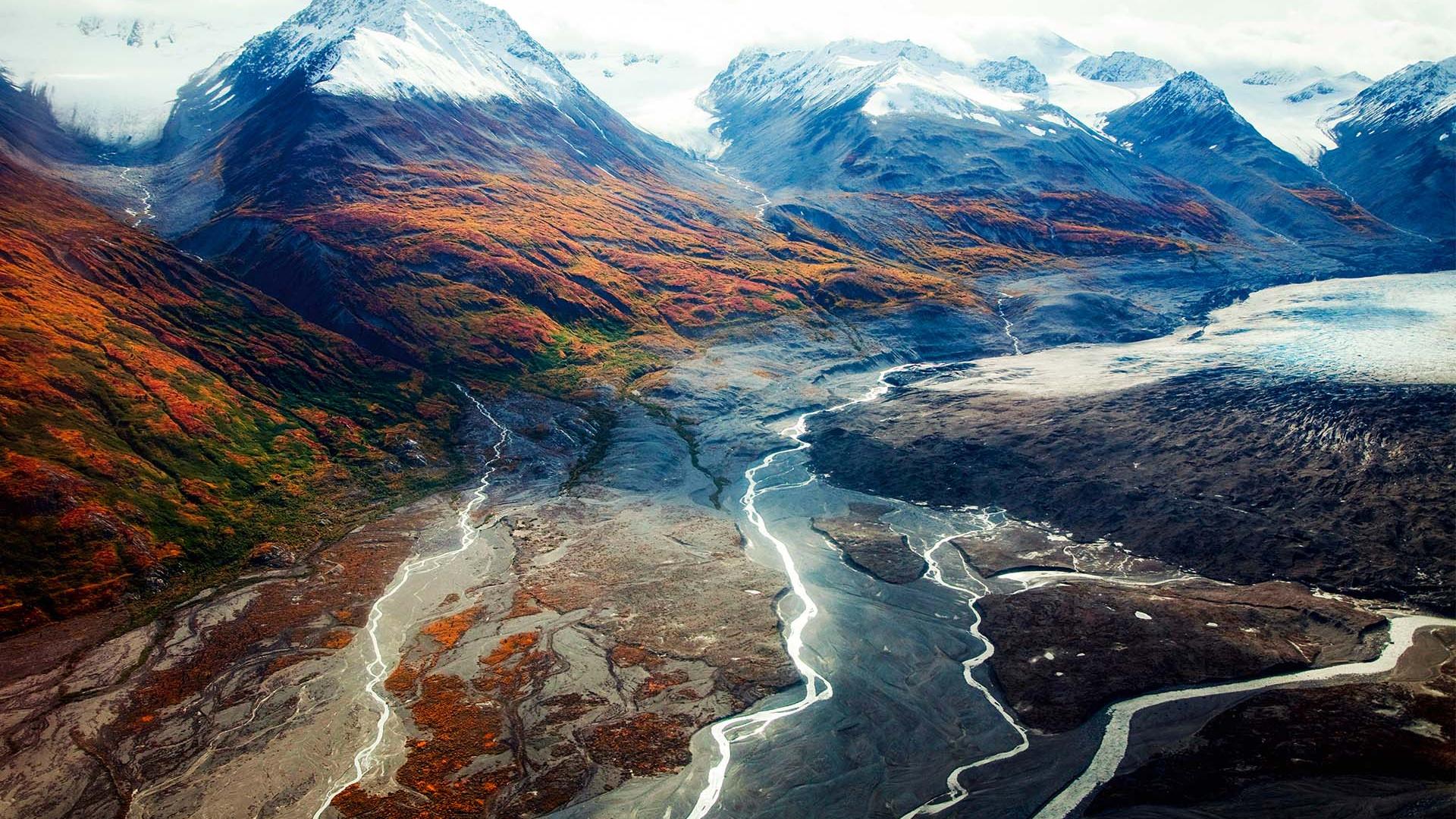 Aerial view Canada Kluane National Park mountain