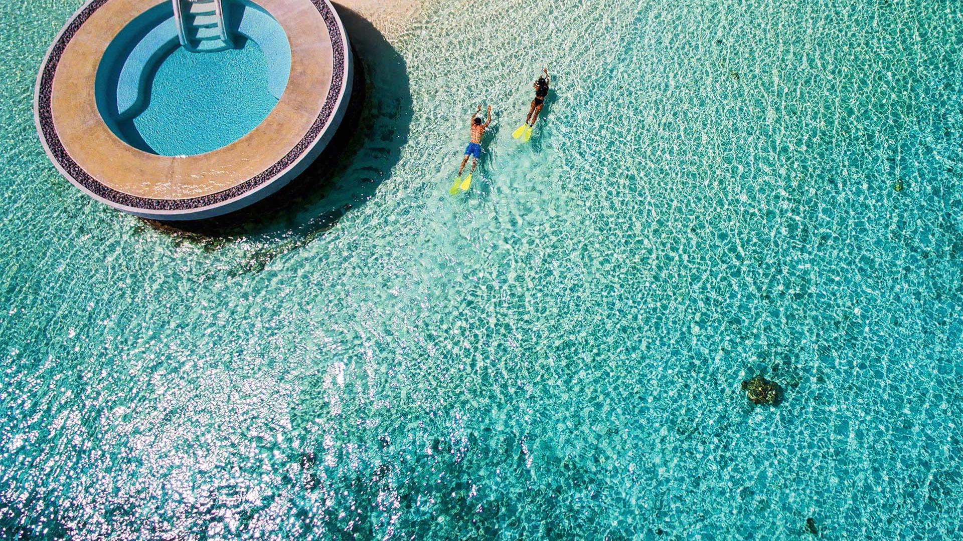 Aerial view of Huvafen Fushi resort, Maldives