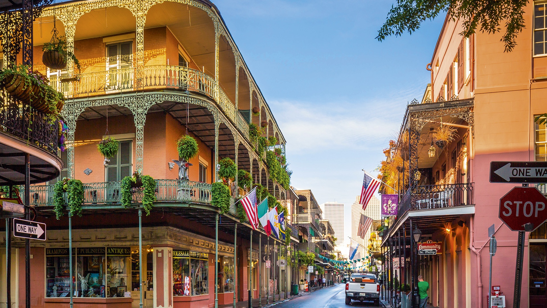 traditional buildings in the French Quarter, New Orleans, Lousiana