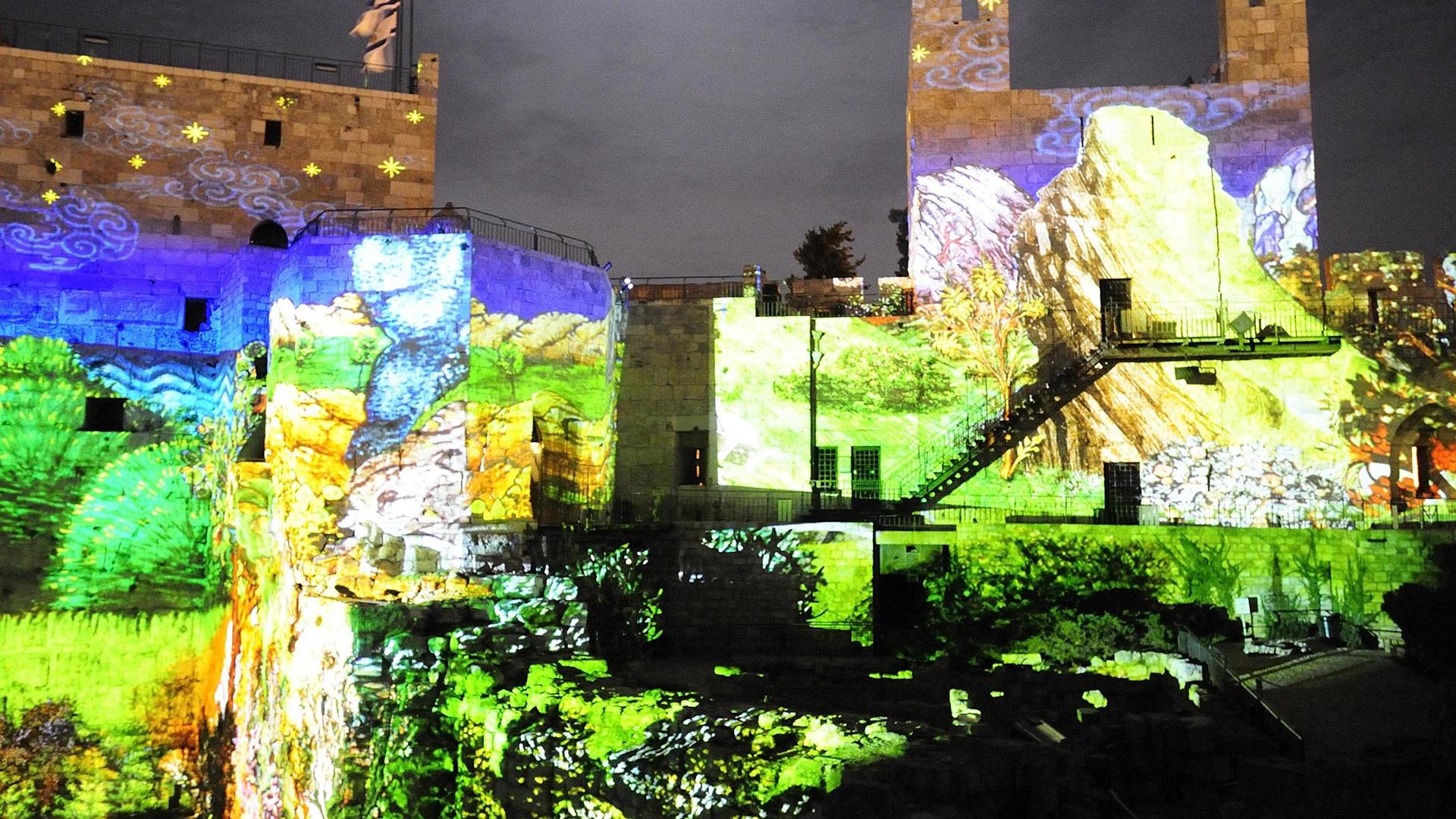 Art projections in Jerusalem, Israel