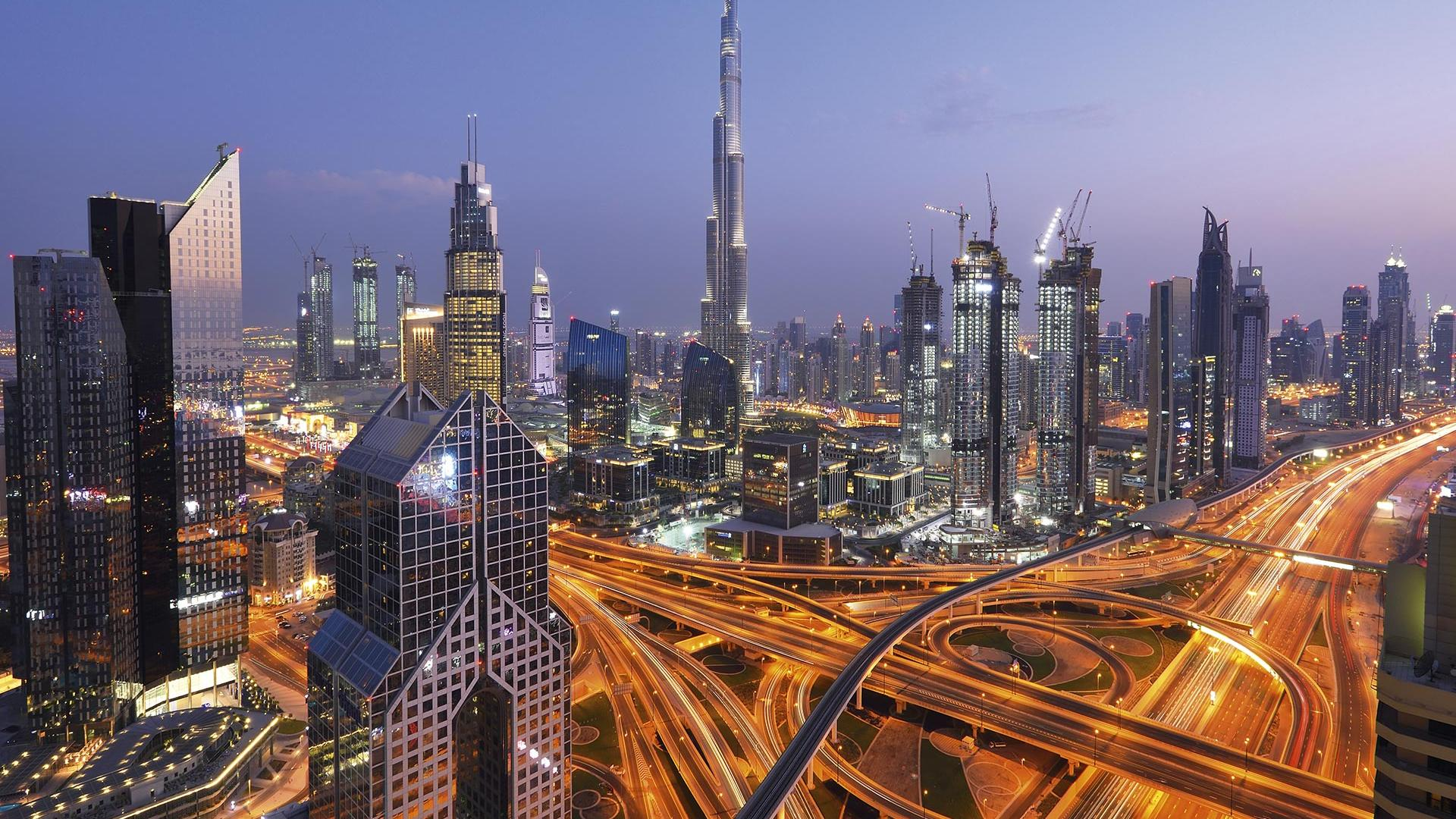 Dubai skyline, including Burj Khalifa