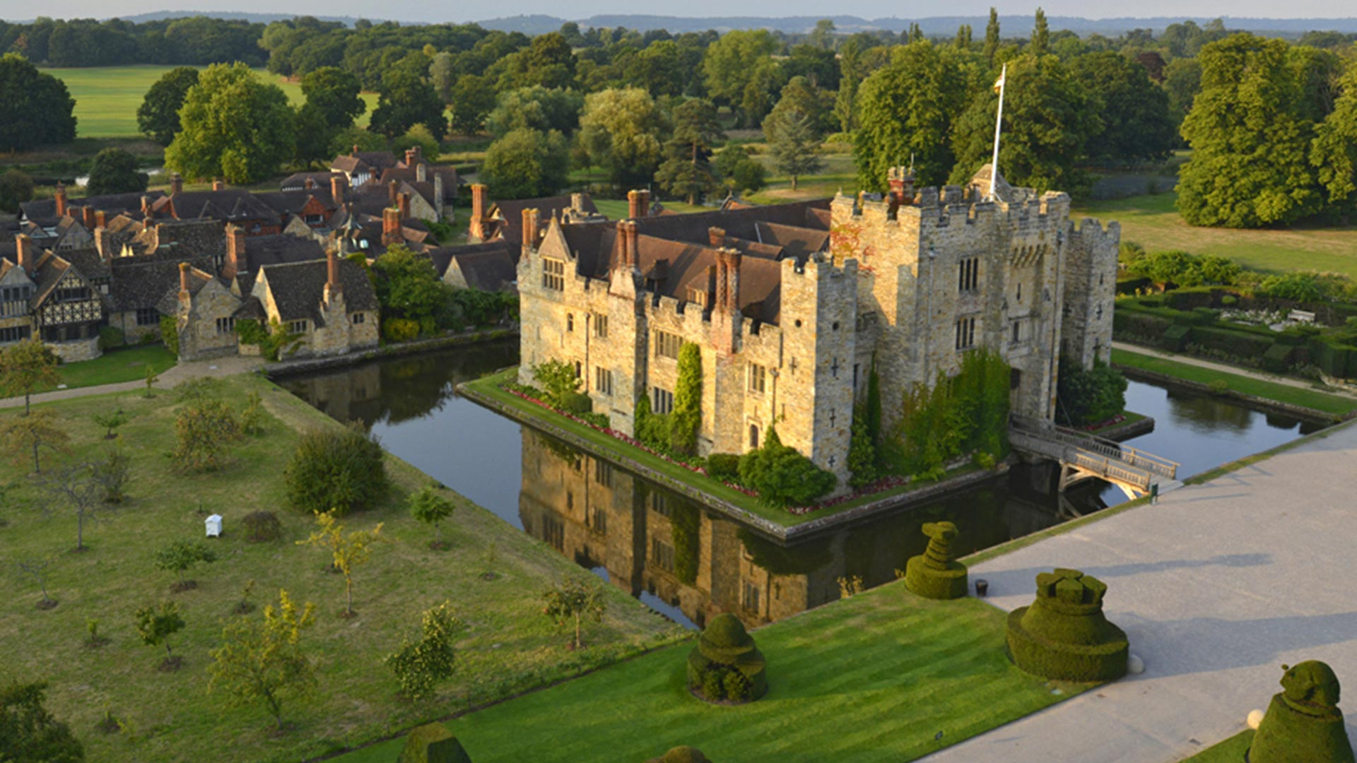 Aerial view of Hever Castle, Kent