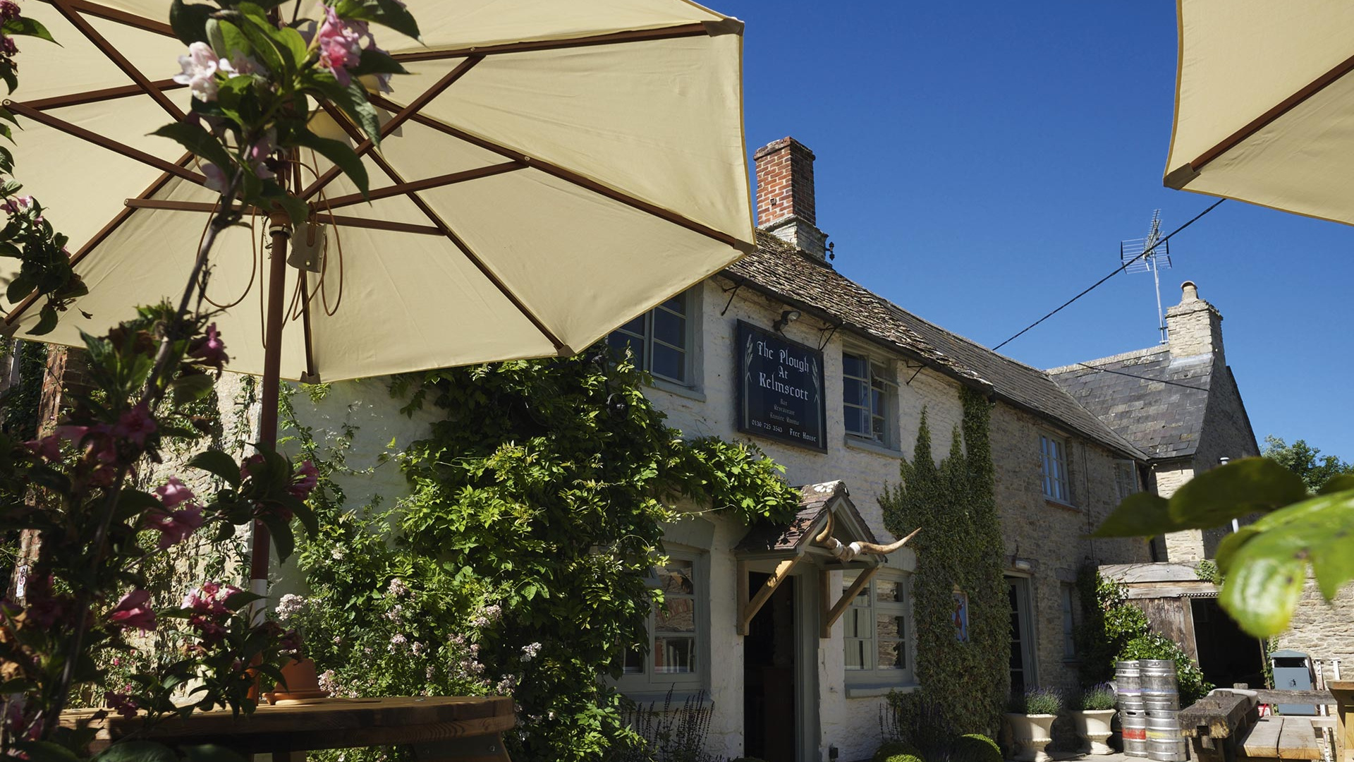 exterior of the Plough at Kelmscott in the Cotswolds