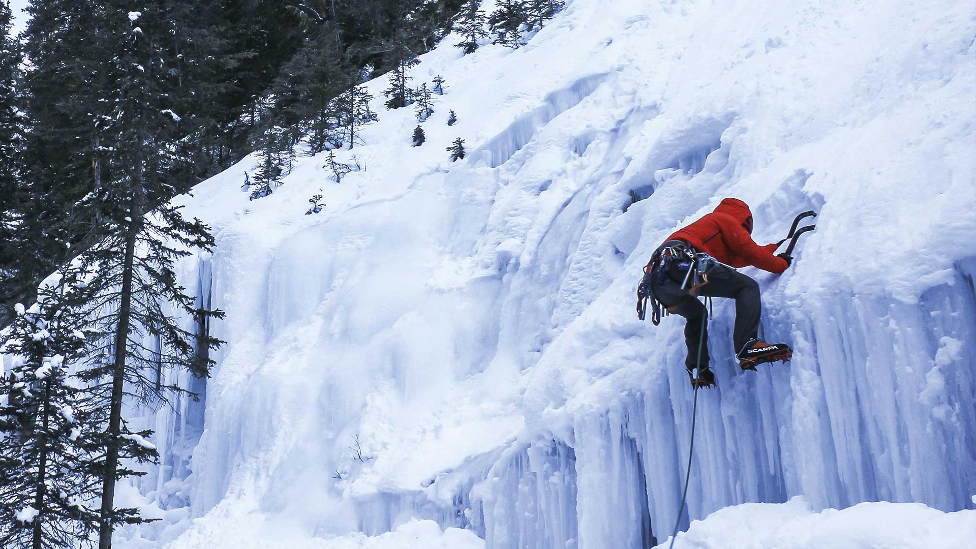 Ice climbing in Alberta, Canada