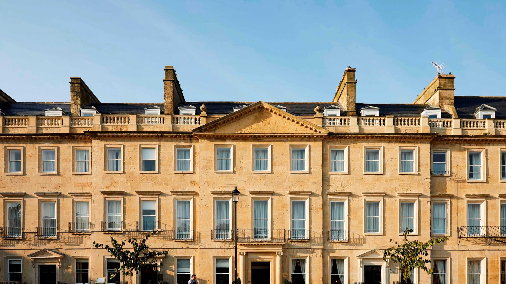 Hotel Indigo Bath review: the hotel exterior, Georgian style buildings in Bath