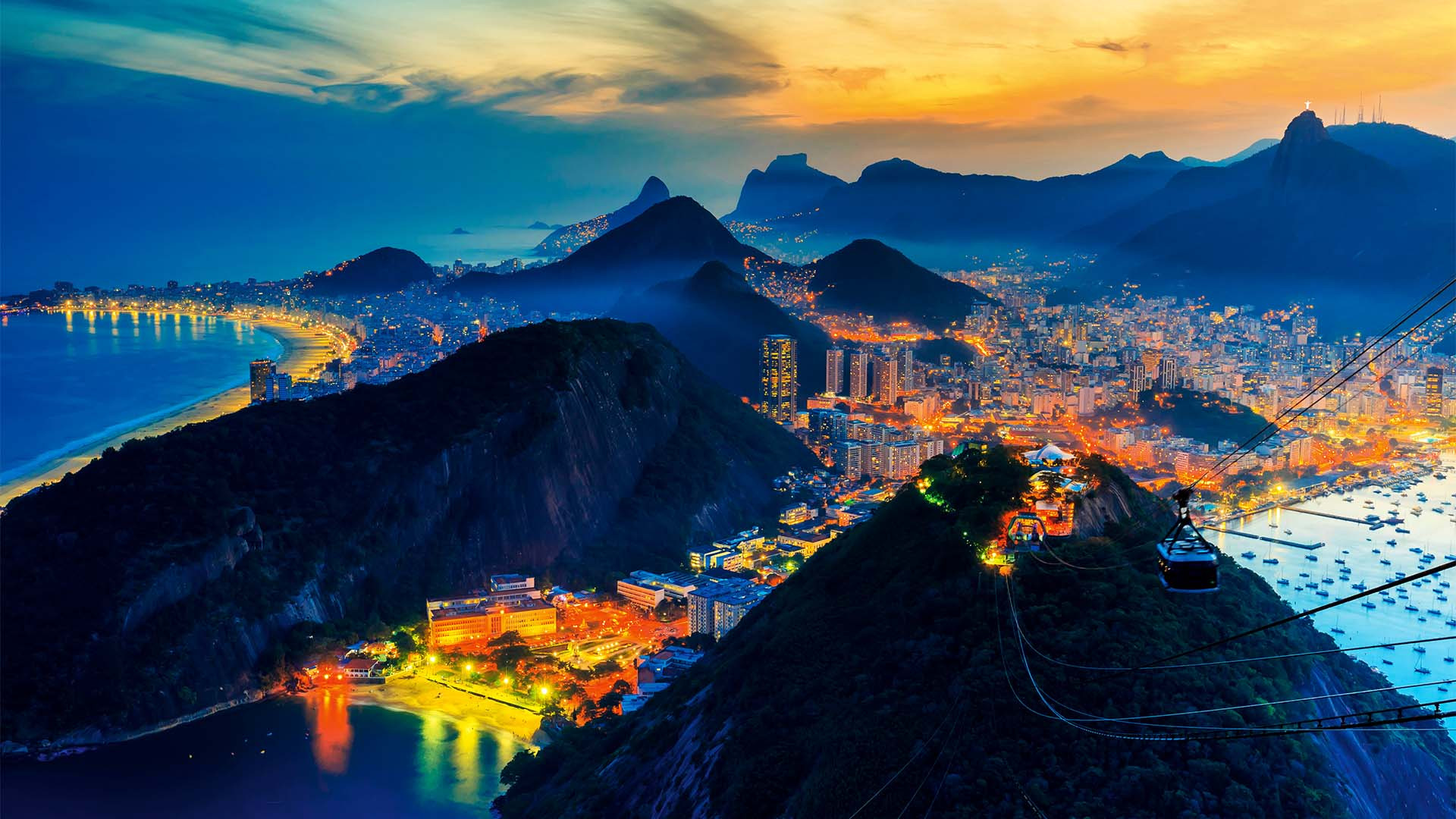 Photograph of Rio lit-up at night