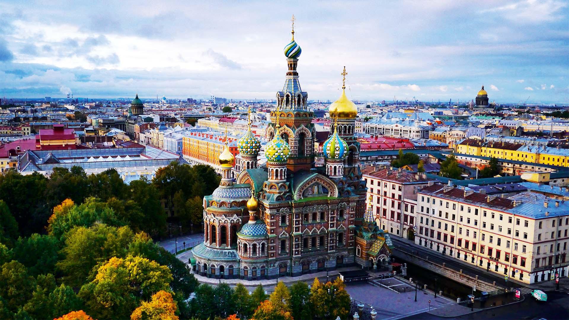 Aerial view over St Petersburg