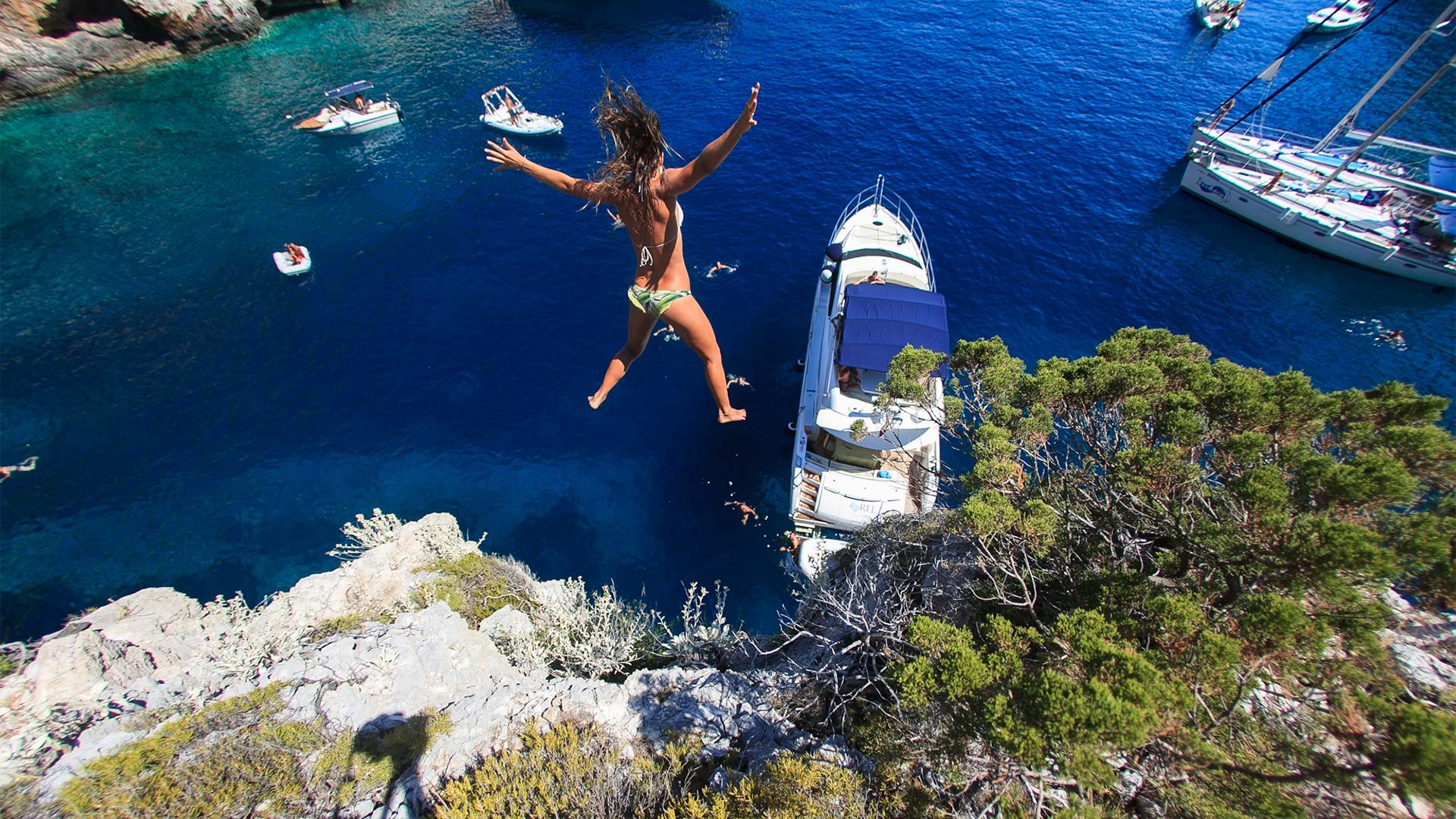 Cliff diving off the coast of Croatia