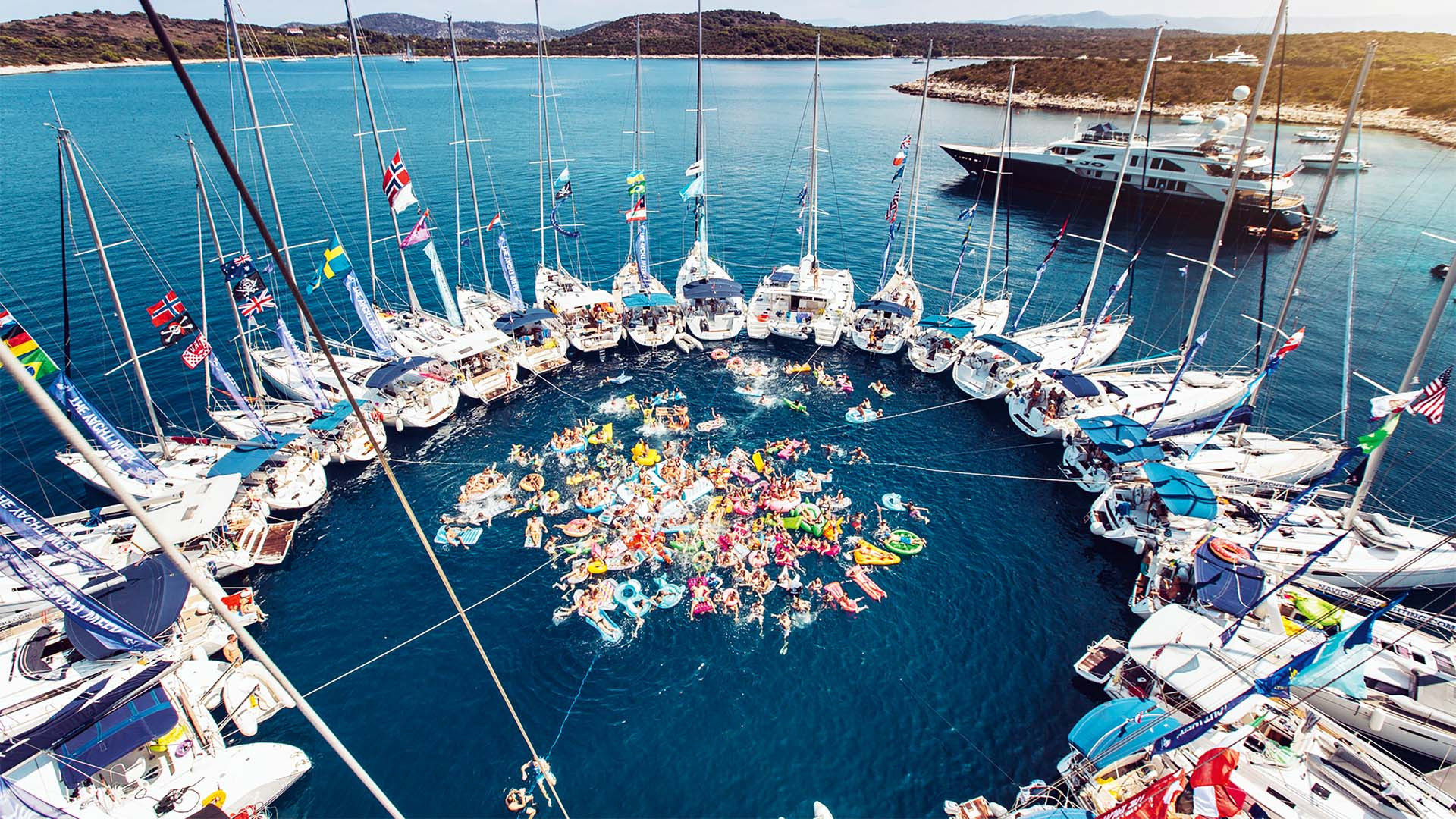 Yachts and people partying in the British Virgin Islands