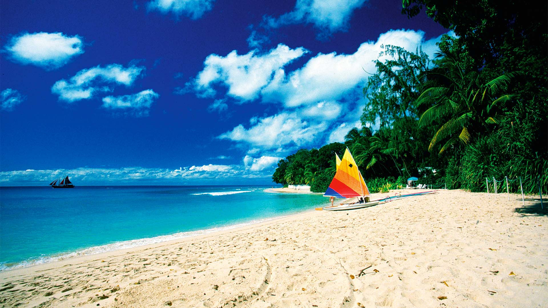 A beach in Barbados with a colourful sailboat