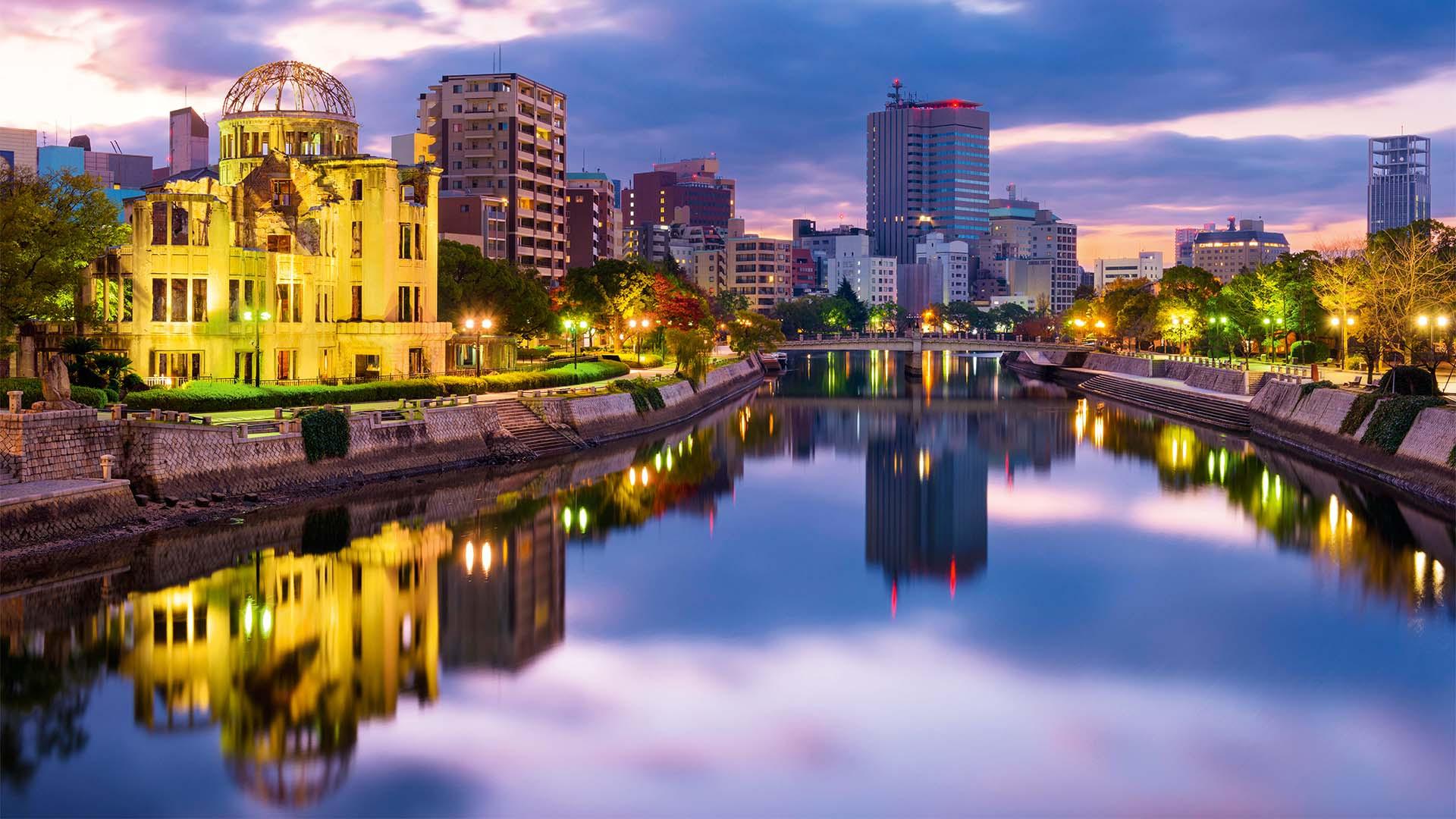 The river and Peace Memorial at Hiroshima