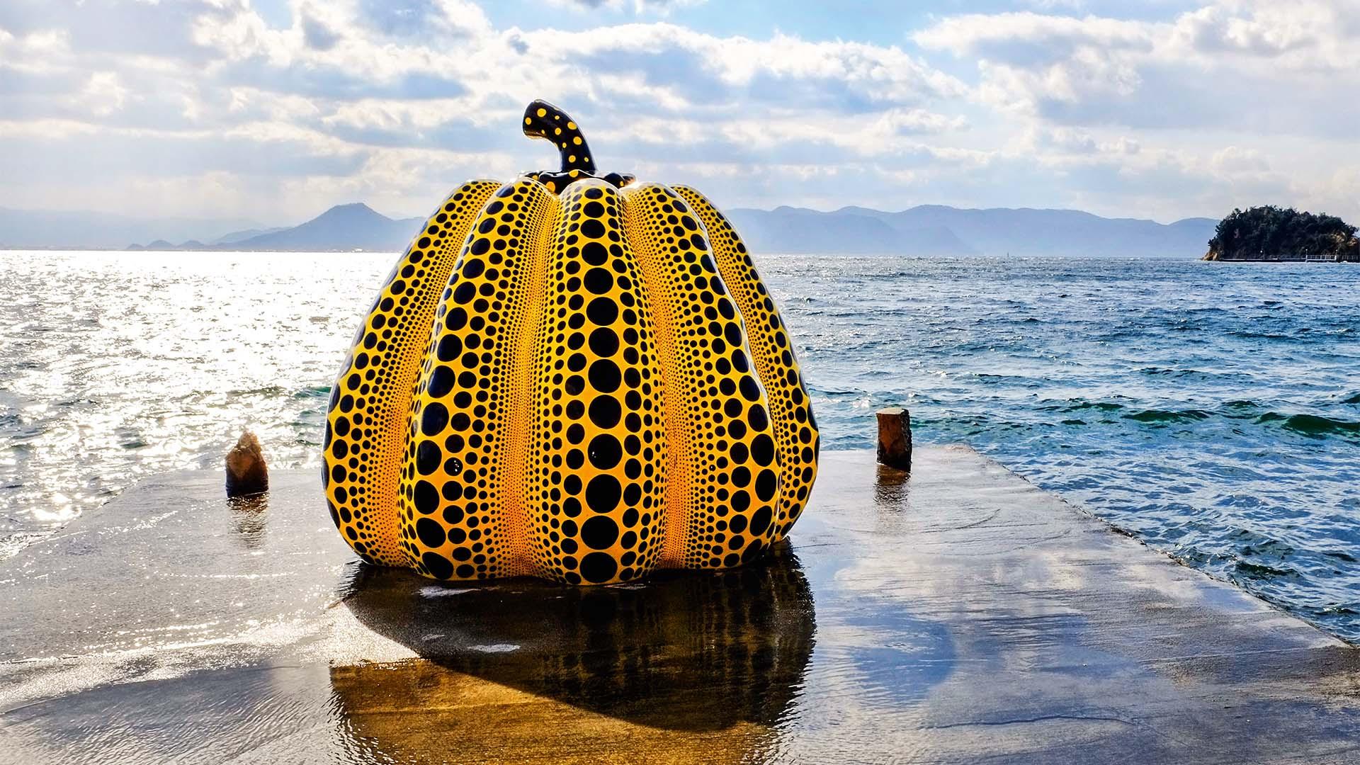 Yayoi Kusama's giant pumpkin sculpture in Naoshima