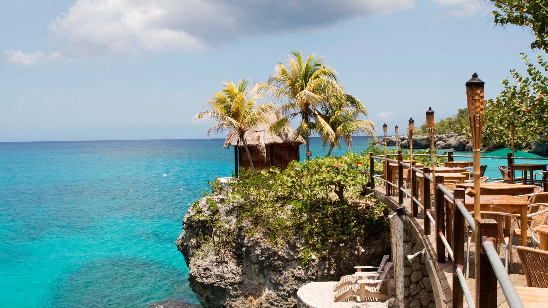 A view from the terrace at The Rockhouse Hotel in Negril