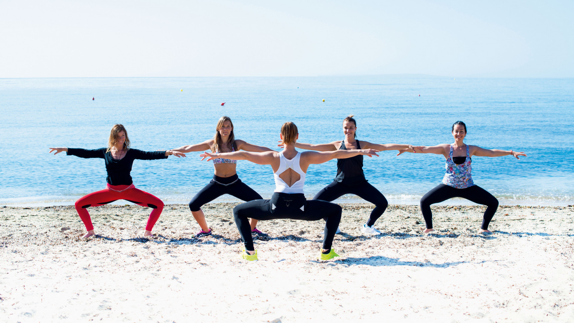 Aerobic fitness on the beach in Ibiza