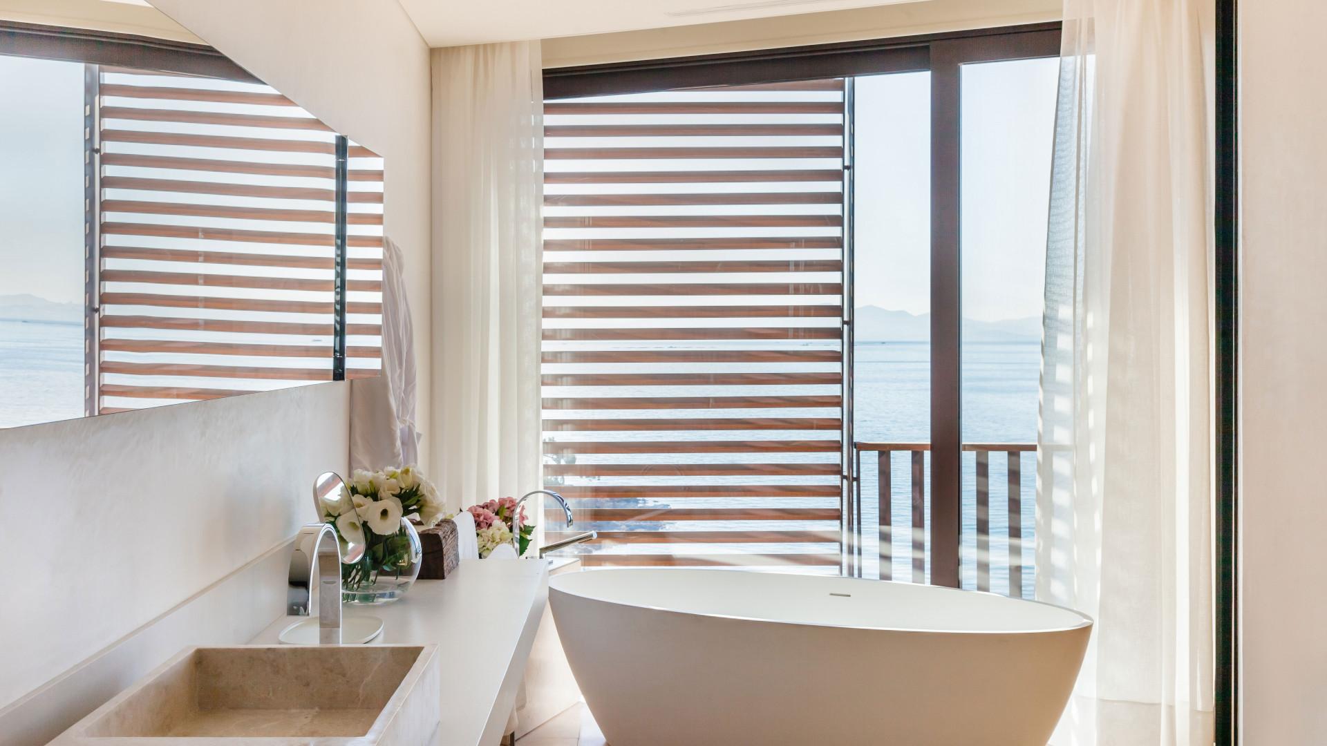Aegean sea view from bathroom at Kaplankaya hotel