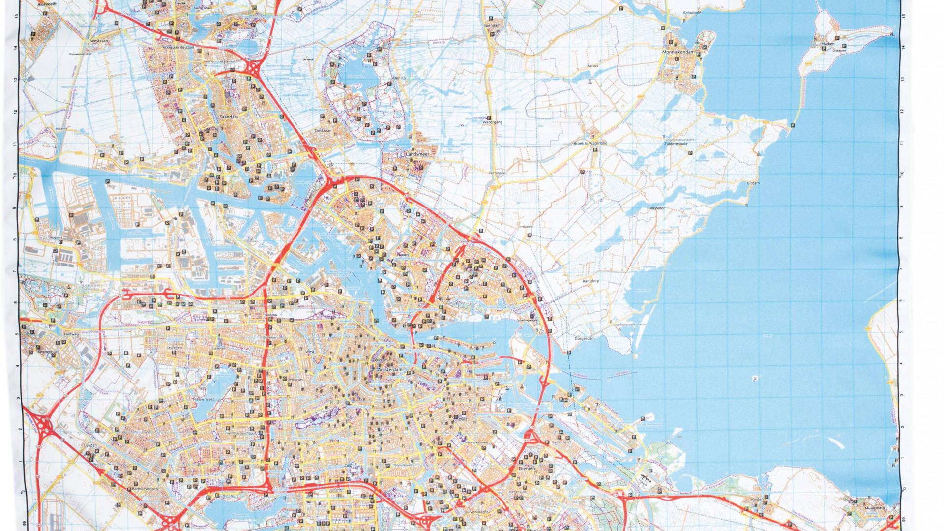 Amsterdam map wrap for toiletries