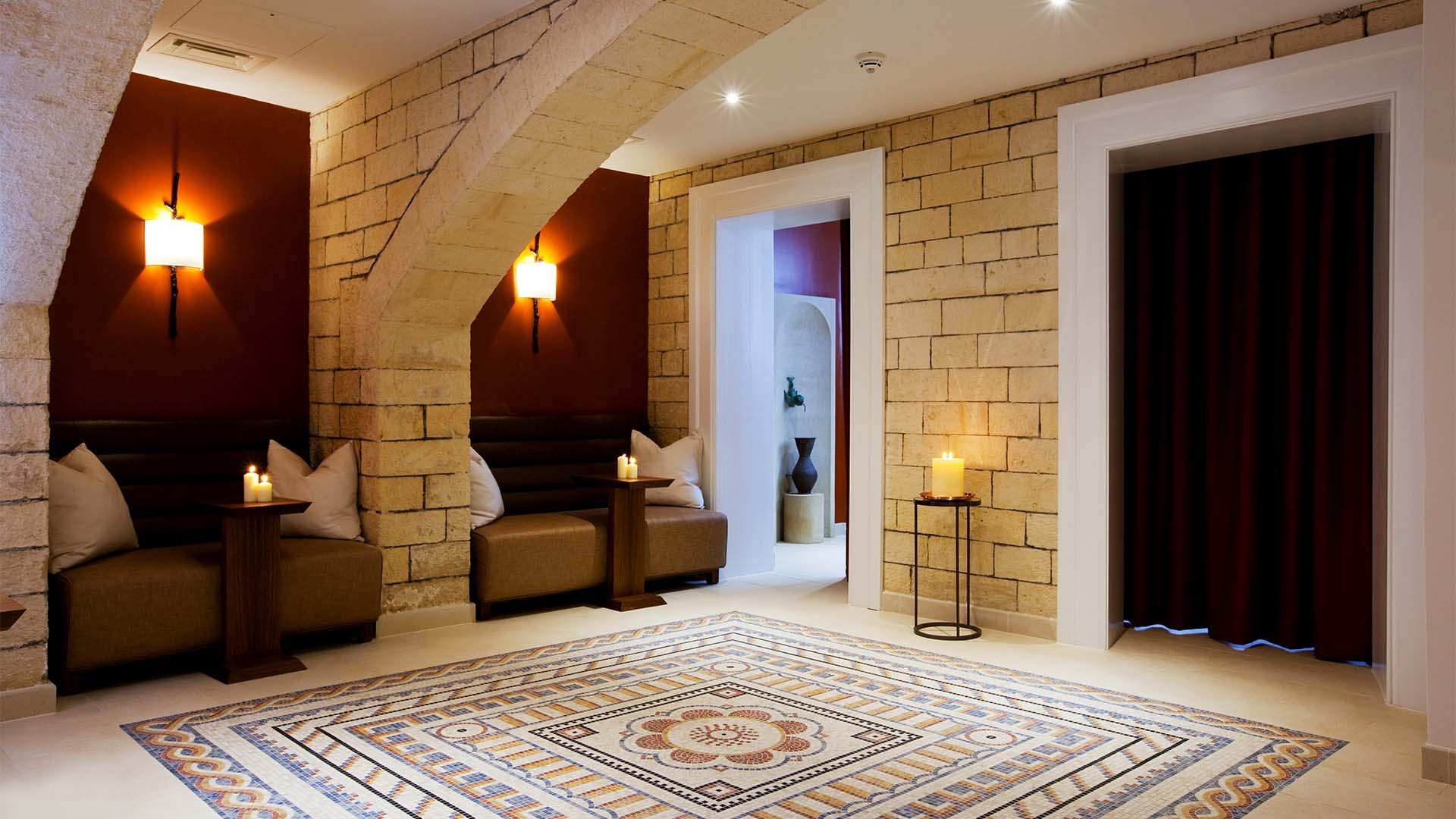 Mosaic tiled luxury relaxation area at Gainsborough Bath Spa