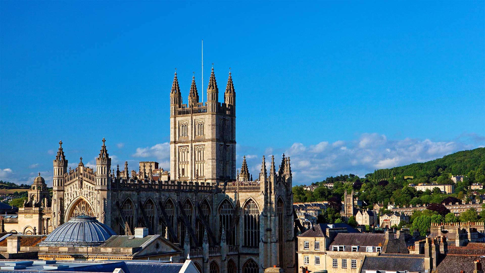 View across the rooftops to Bath Abbey