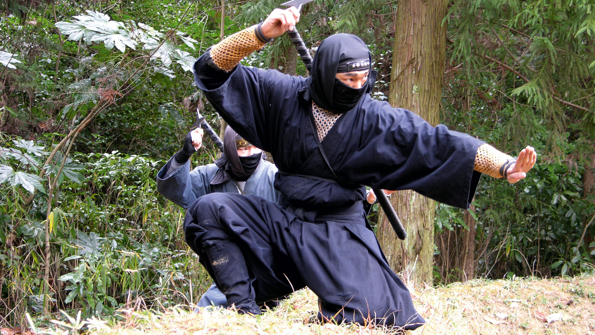 A ninja throwing a shuriken