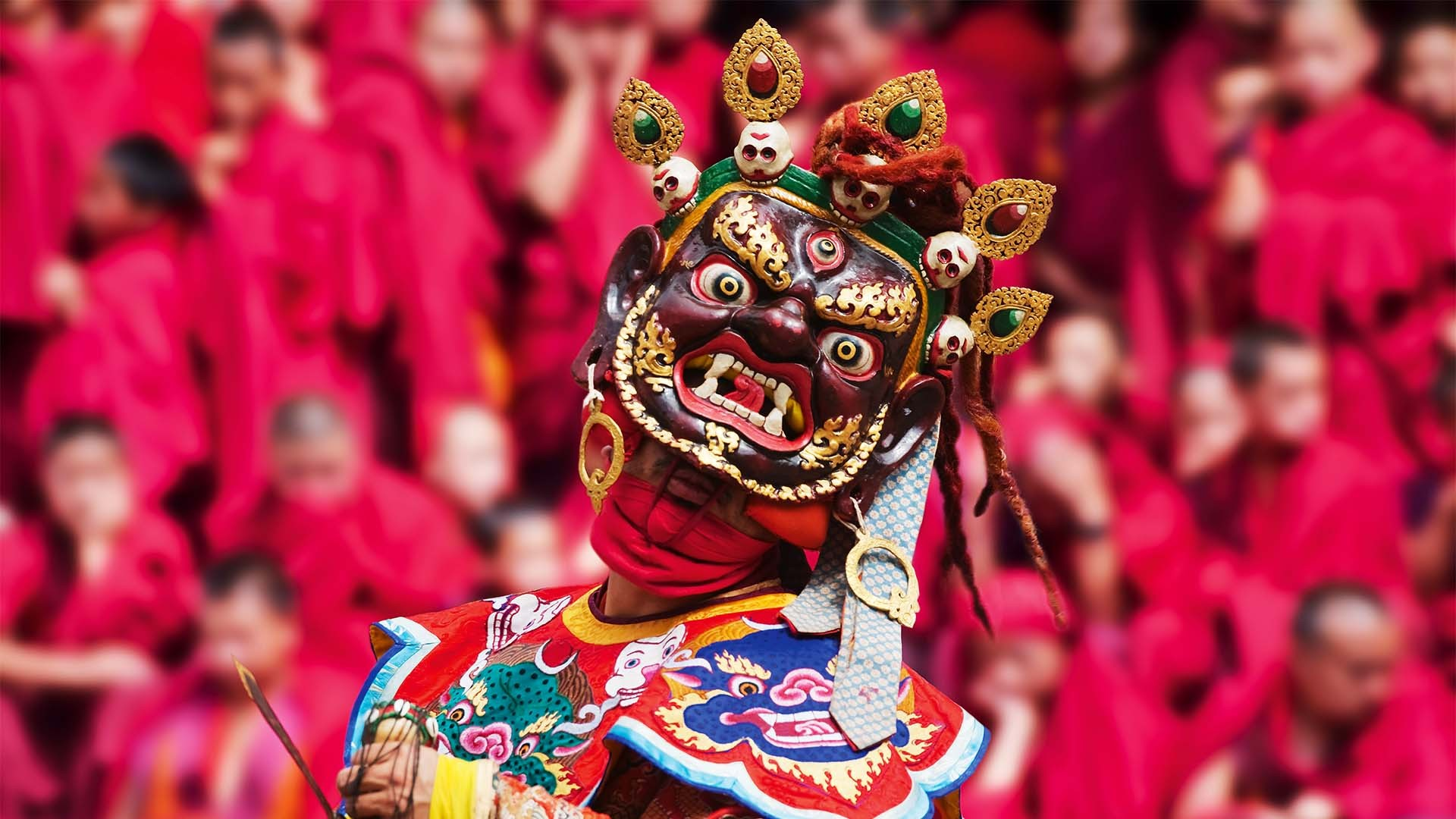 Masked dancer at a festival in Bhutan