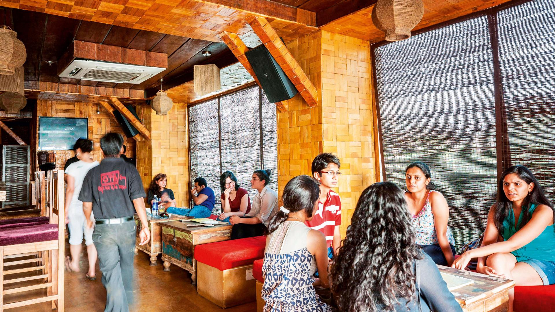 Busy coffee shop in Delhi