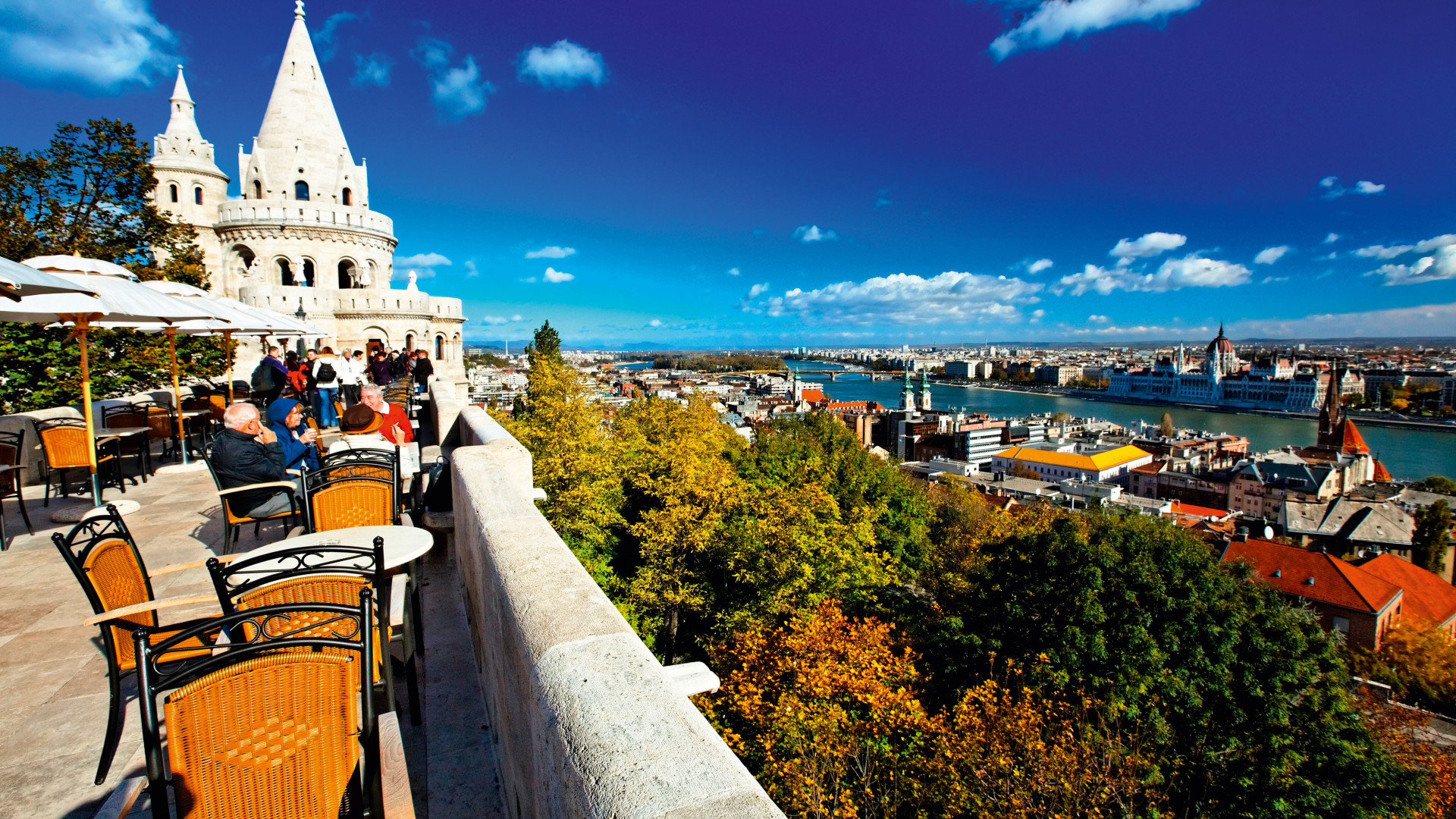Terrace bar overlooking the Danube