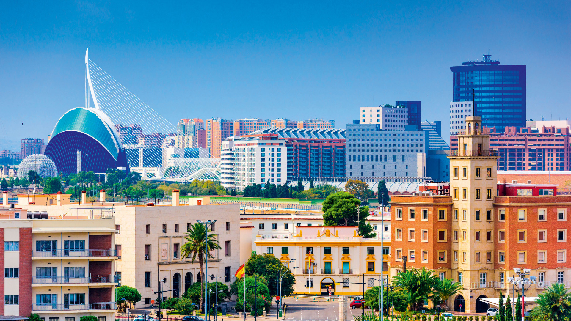 Blue sky and cityscapes in Valencia, Spain
