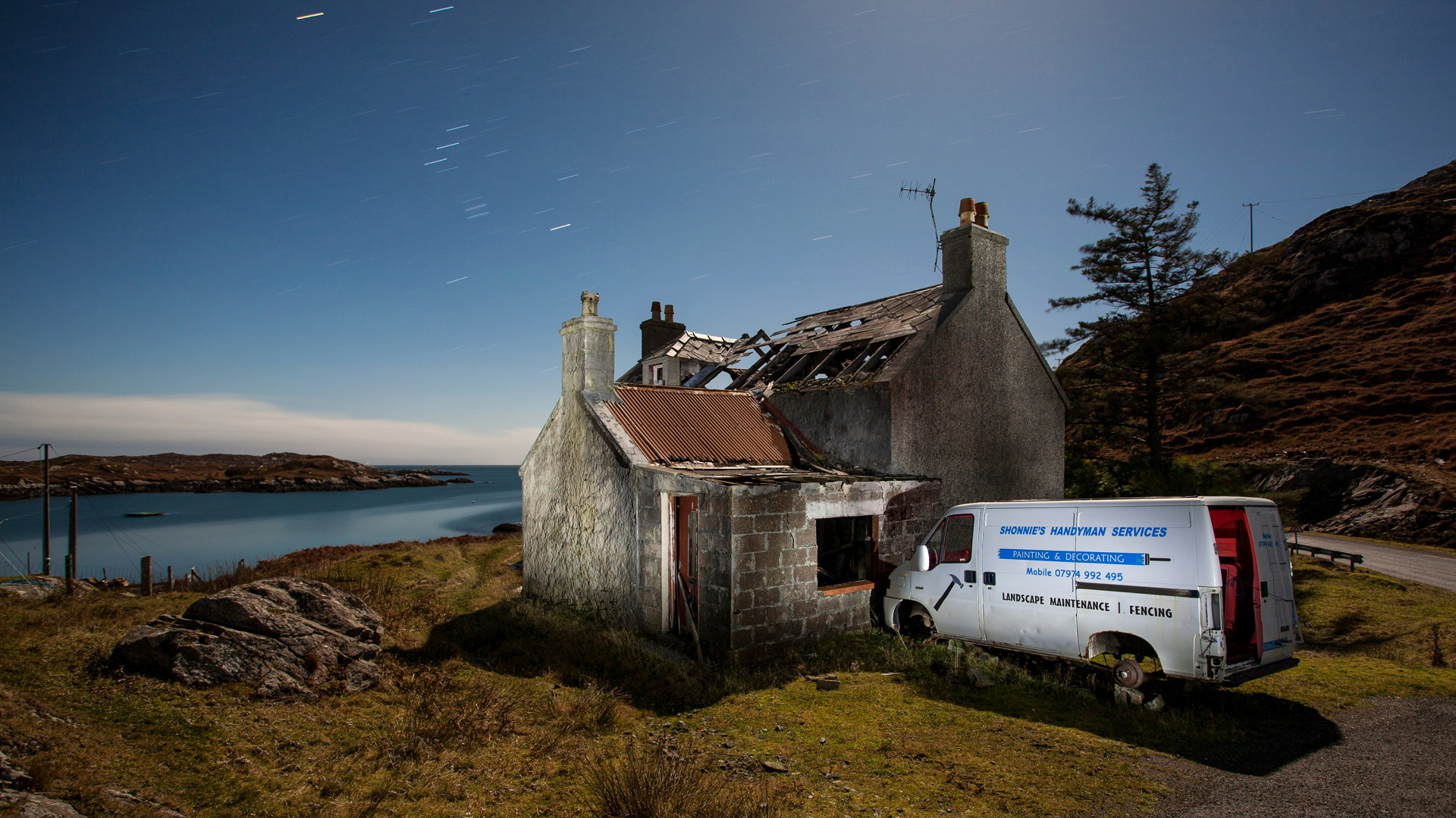 An abandoned house and van in Scotland