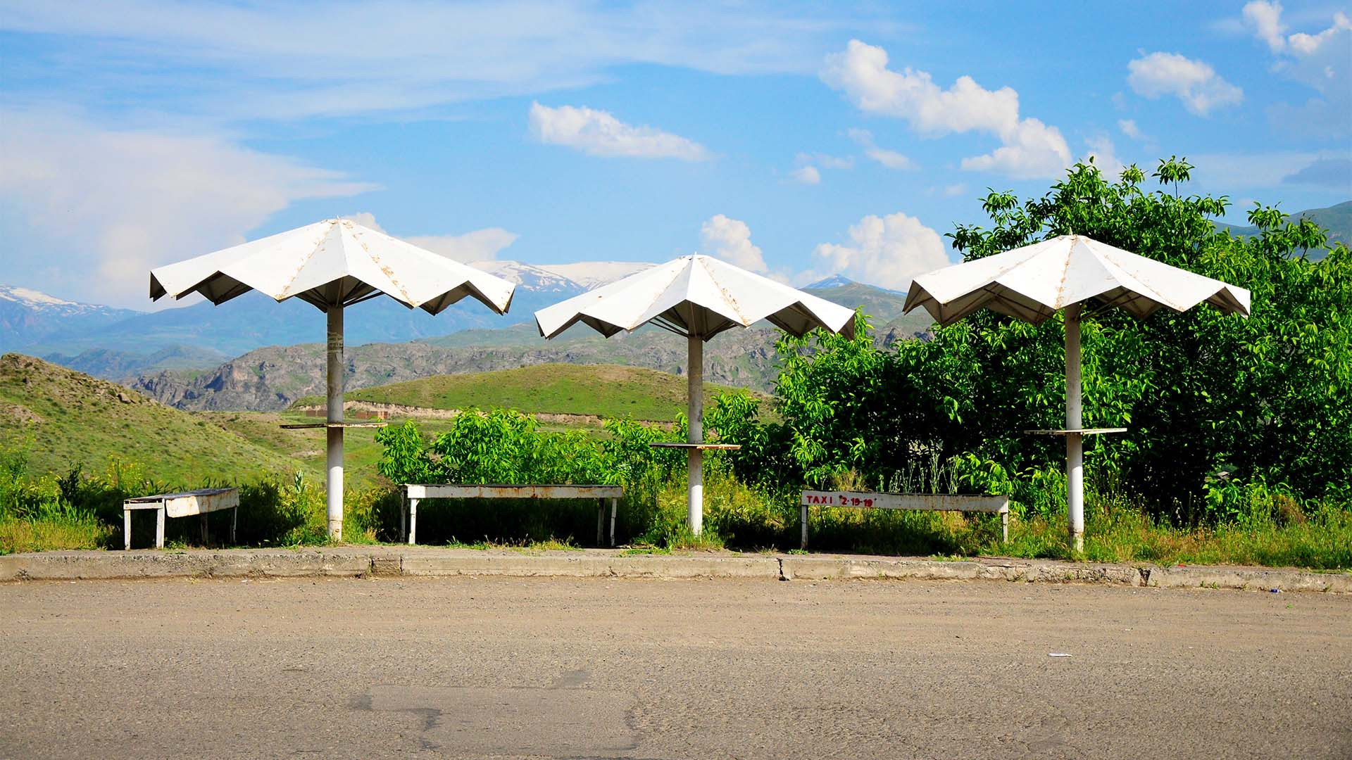 Umbrella shaped bus stops in Armenia
