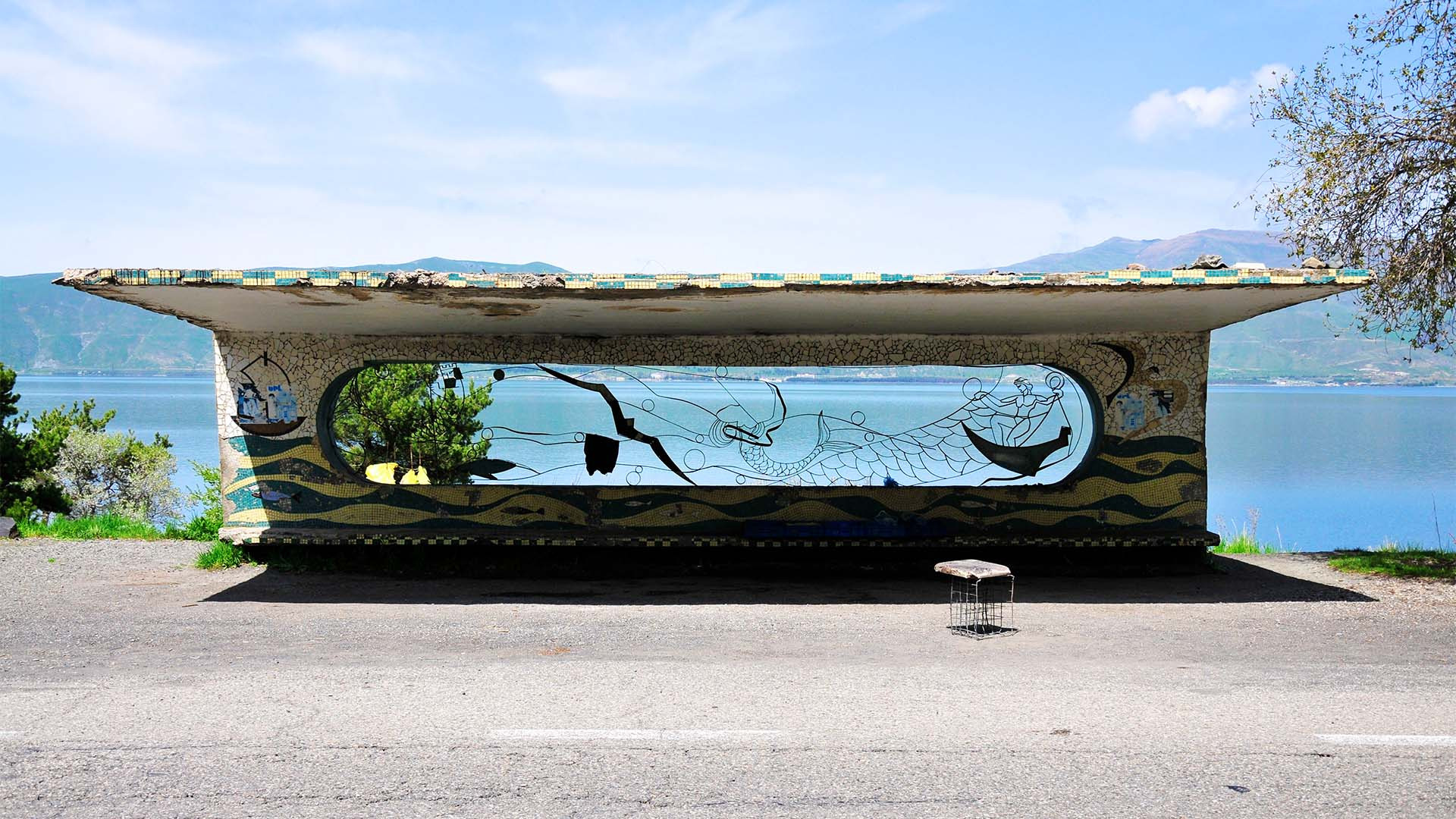 Armenian waterside bus stop