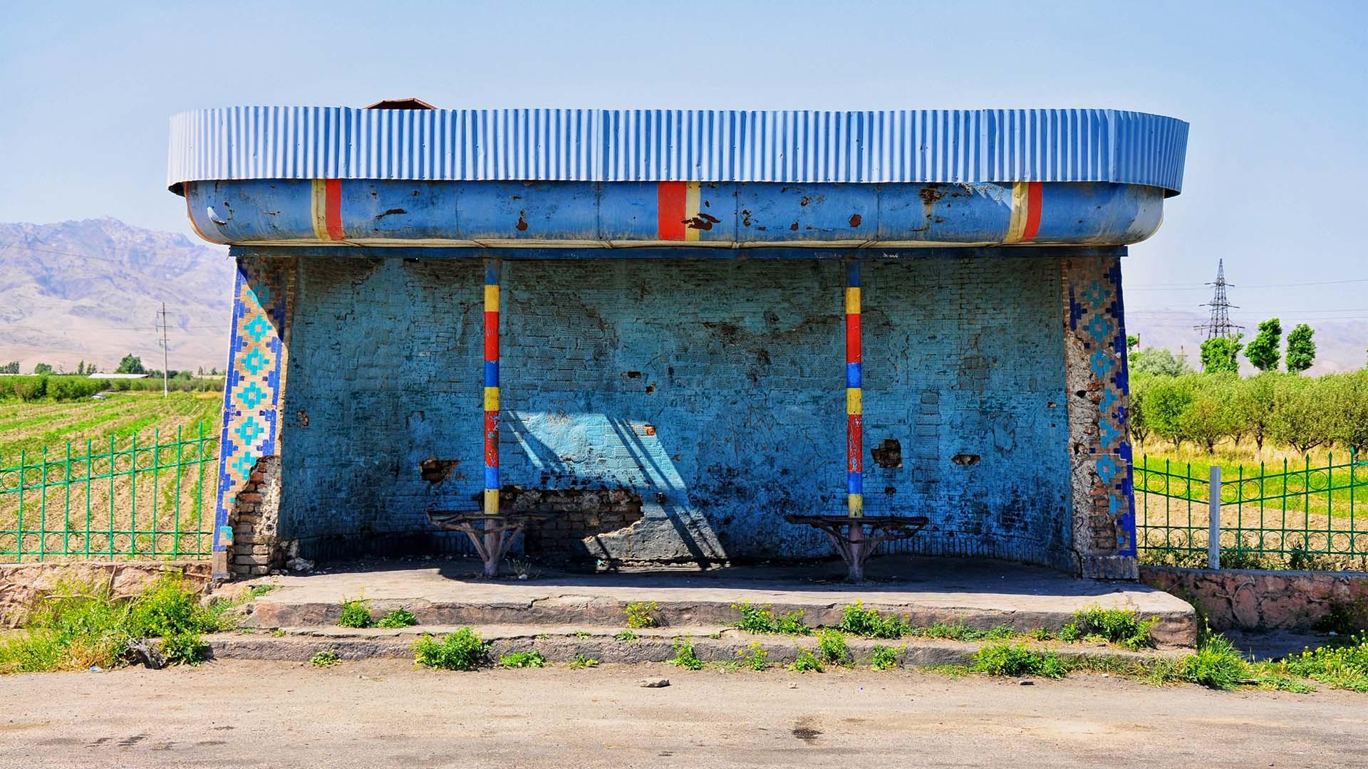 A blue bus stop