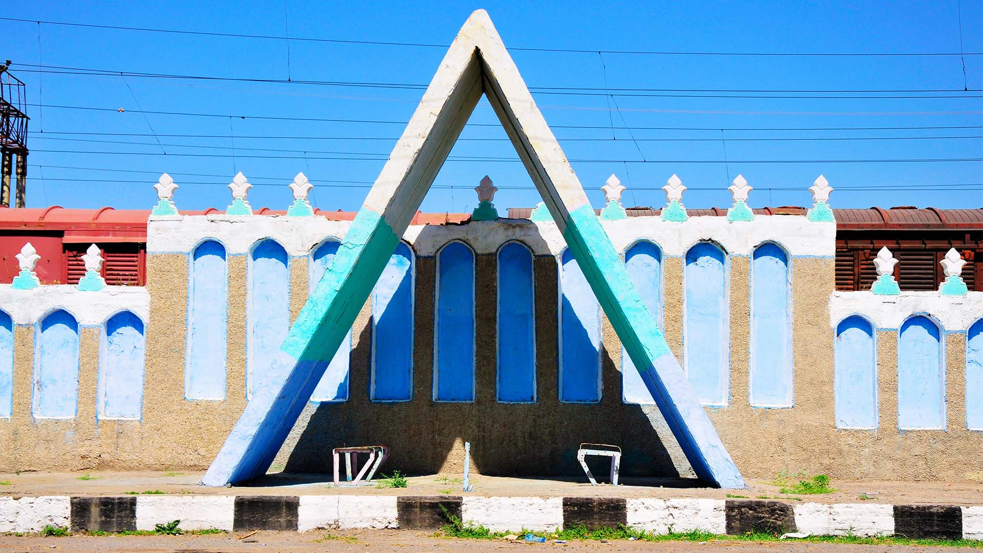A bus stop with a triangular cover in Uzbekistan