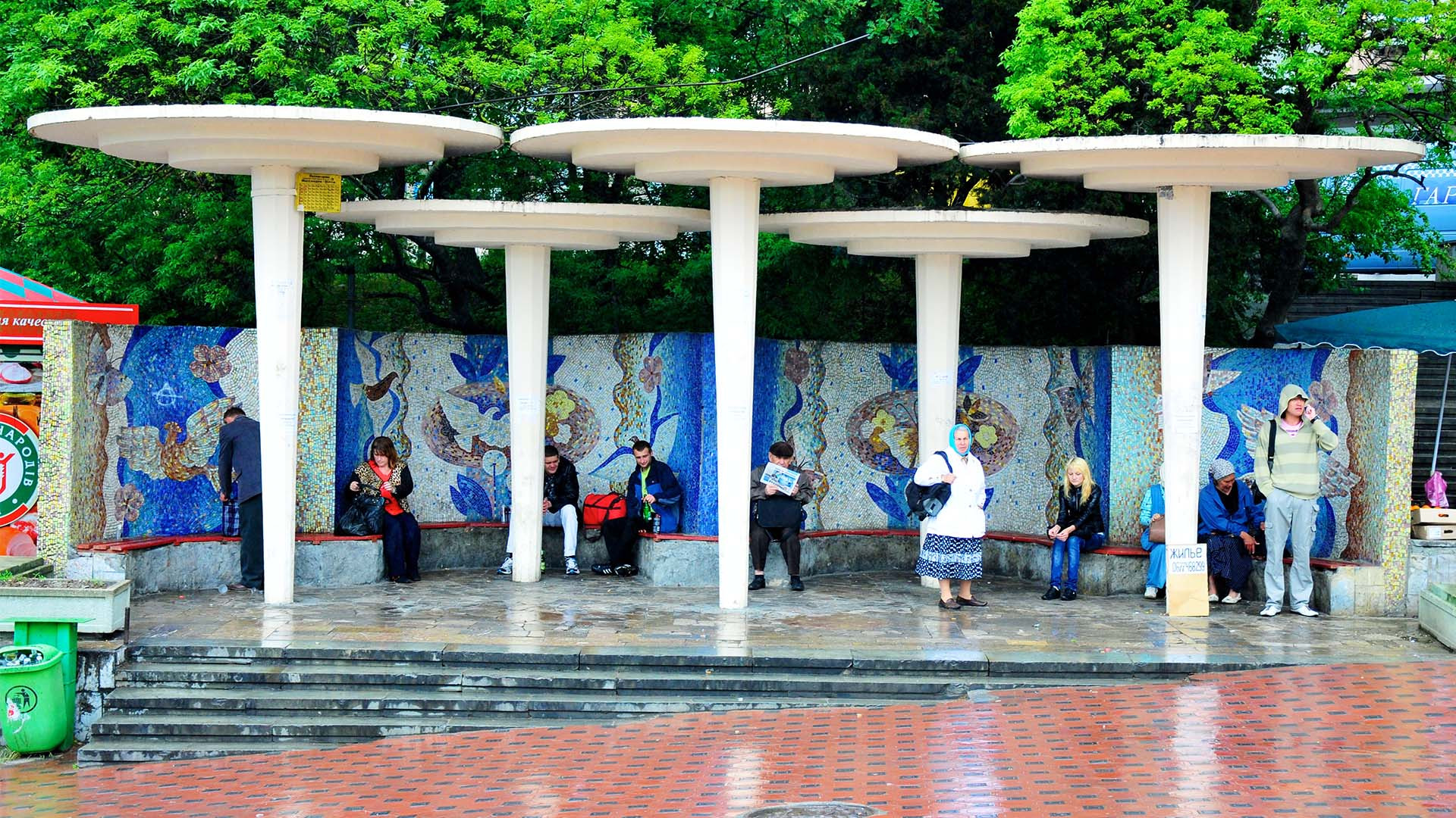 Distinctive Ukrainian urban bus shelter