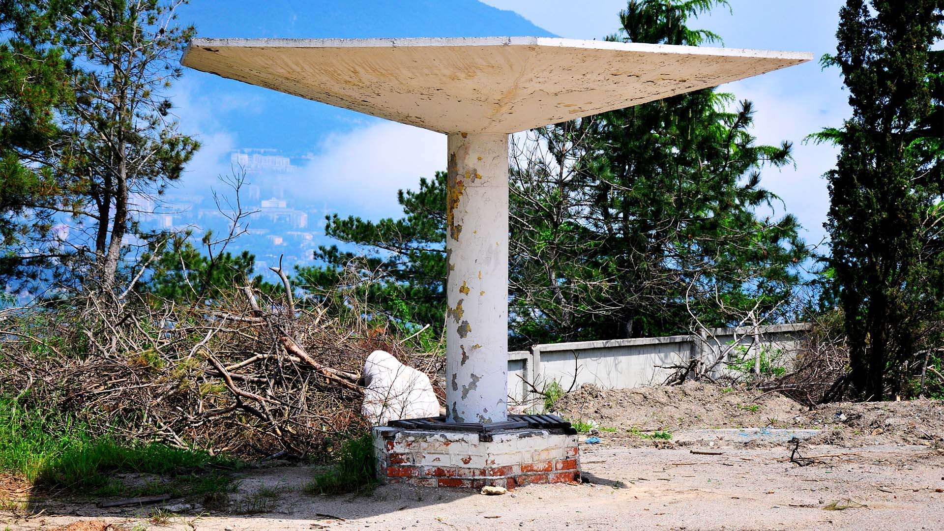 Hillside bus shelter in Crimea