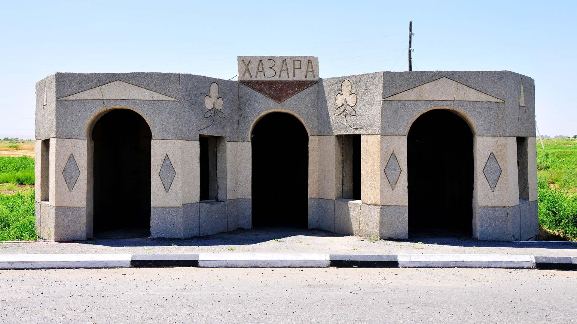 Concrete bus shelter in Uzbekistan