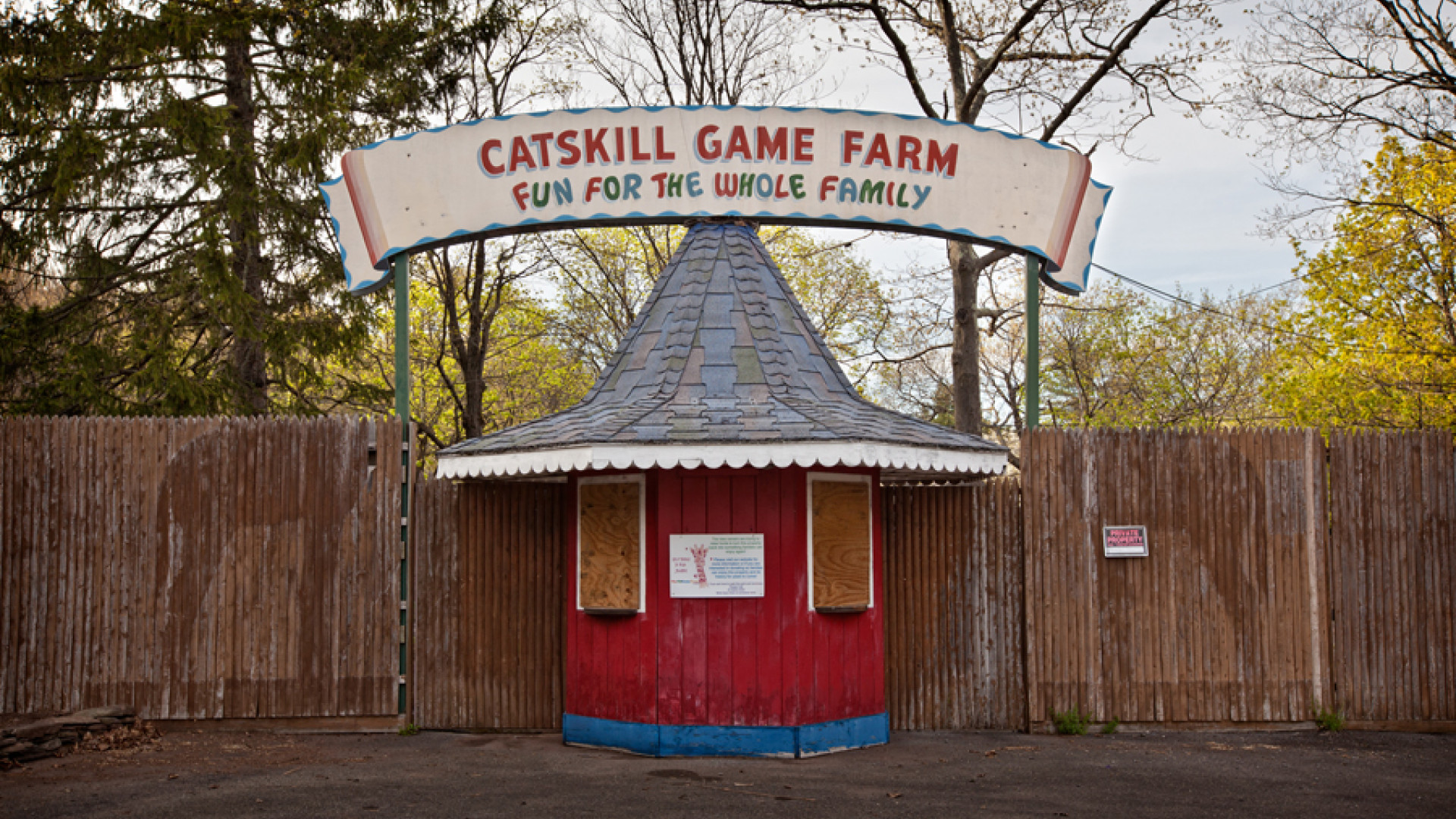 Boarded up entrace to Catskill Game Farm – New York