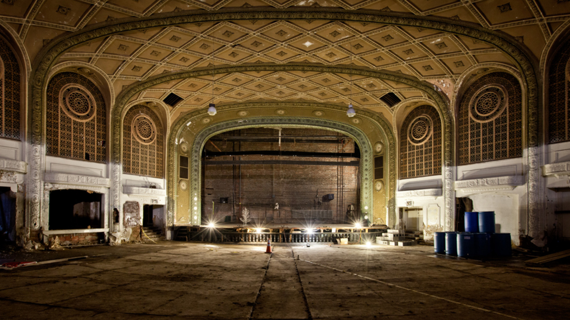 Renovaton work on the Variety Theater in Cleveland, Ohio
