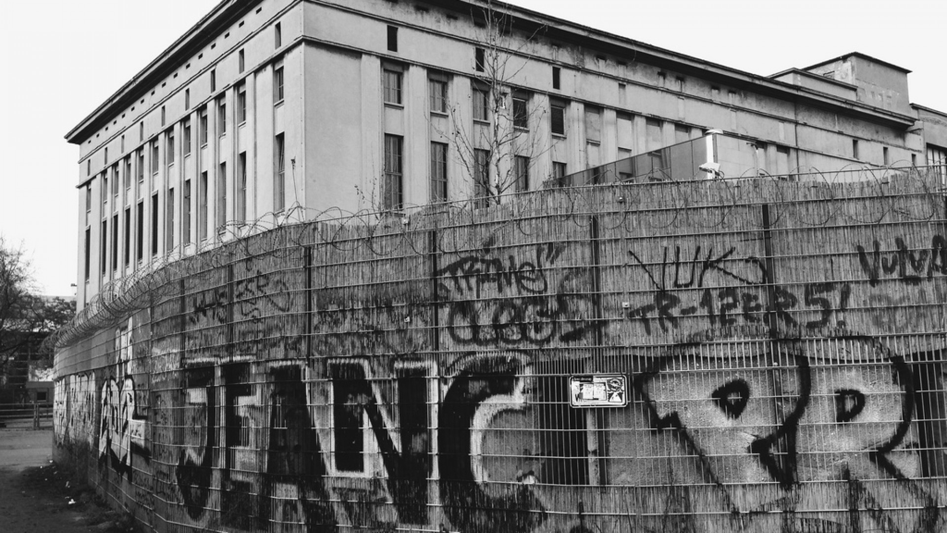 Black and white exterior of Berghain