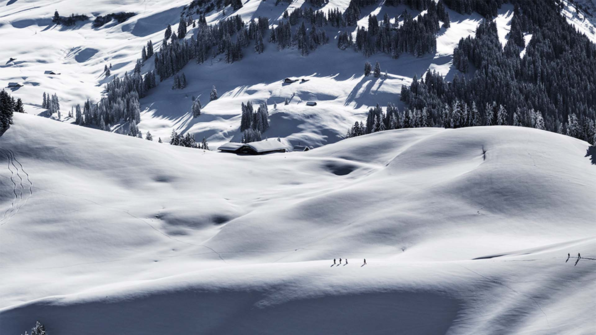 Hikers in Parwengesattel, Switzerland