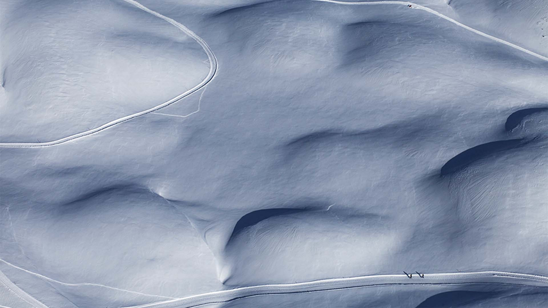 Snow tracks in the Tyrolean Alps, Austria